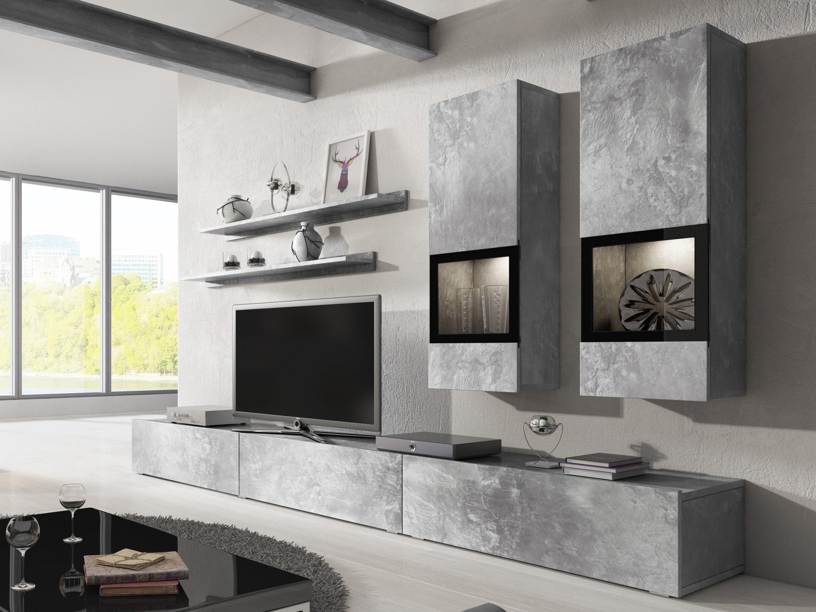 Obývací stěna - Berle - Typ 10 (světlý beton)