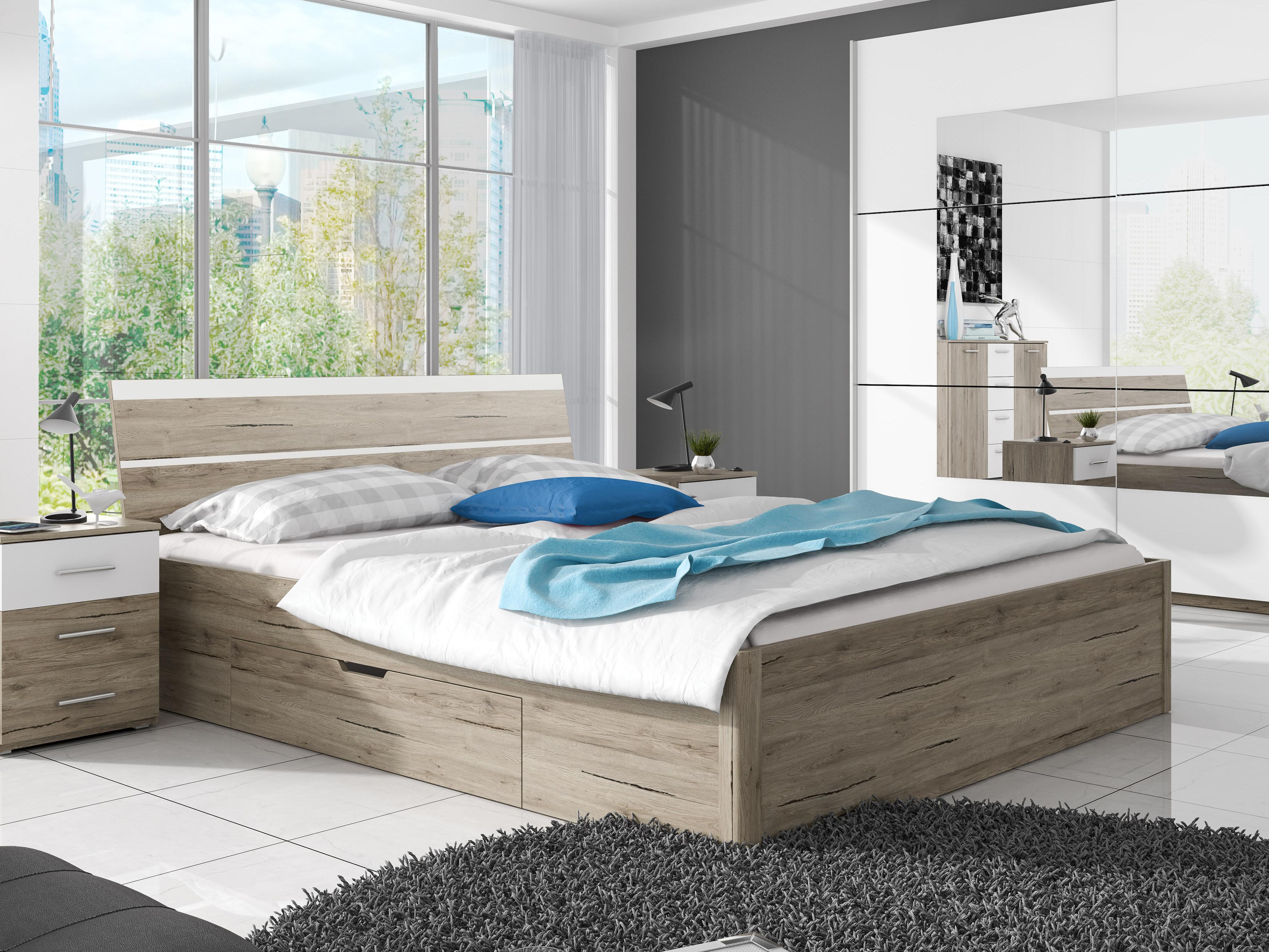 0d707efe9268 Manželská postel 180 cm - Benson - Typ 52 (san remo světlý + bílá)