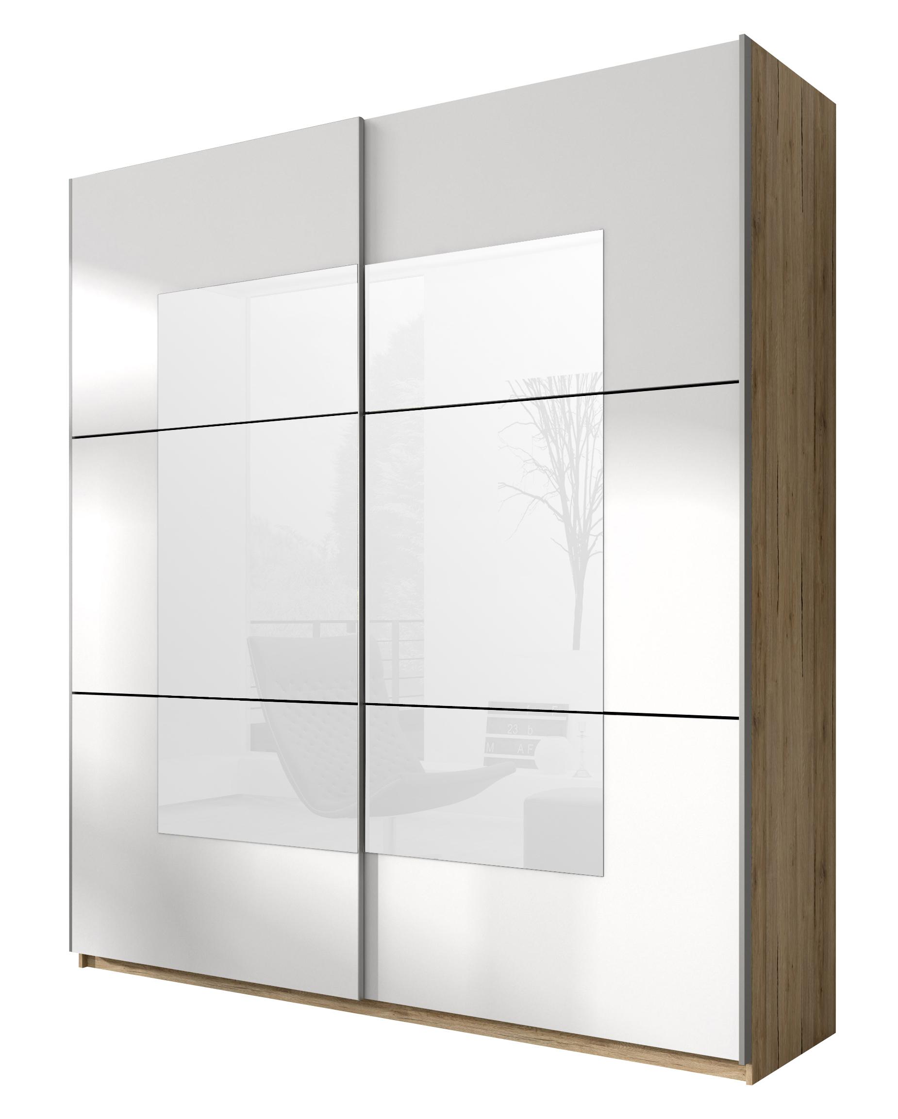 Šatní skříň - Benson - Typ 56 (san remo světlý + bílá + zrcadlo)