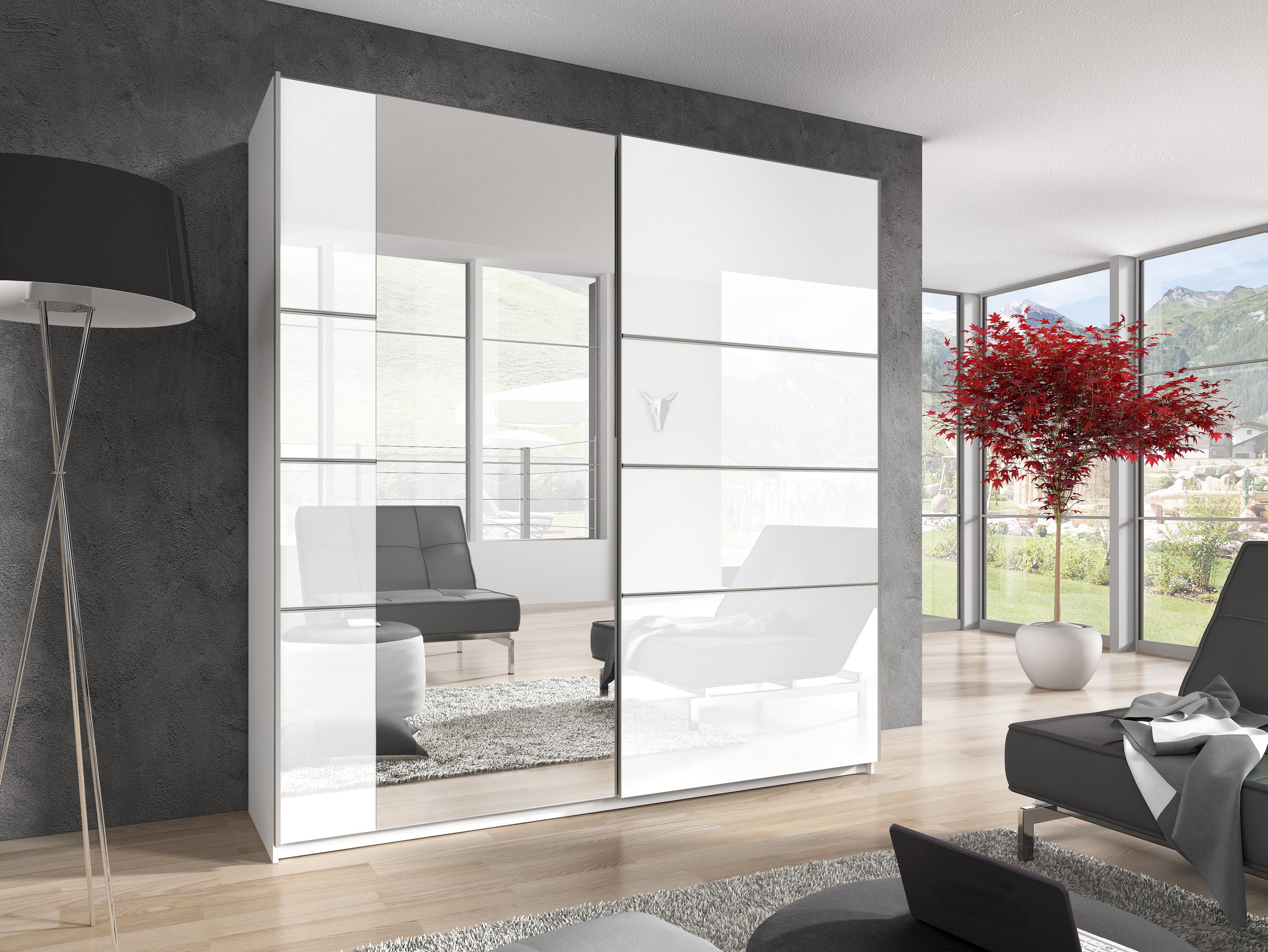 Šatní skříň - Benson - Typ 57 (bílá + lesk bílý + zrcadlo)