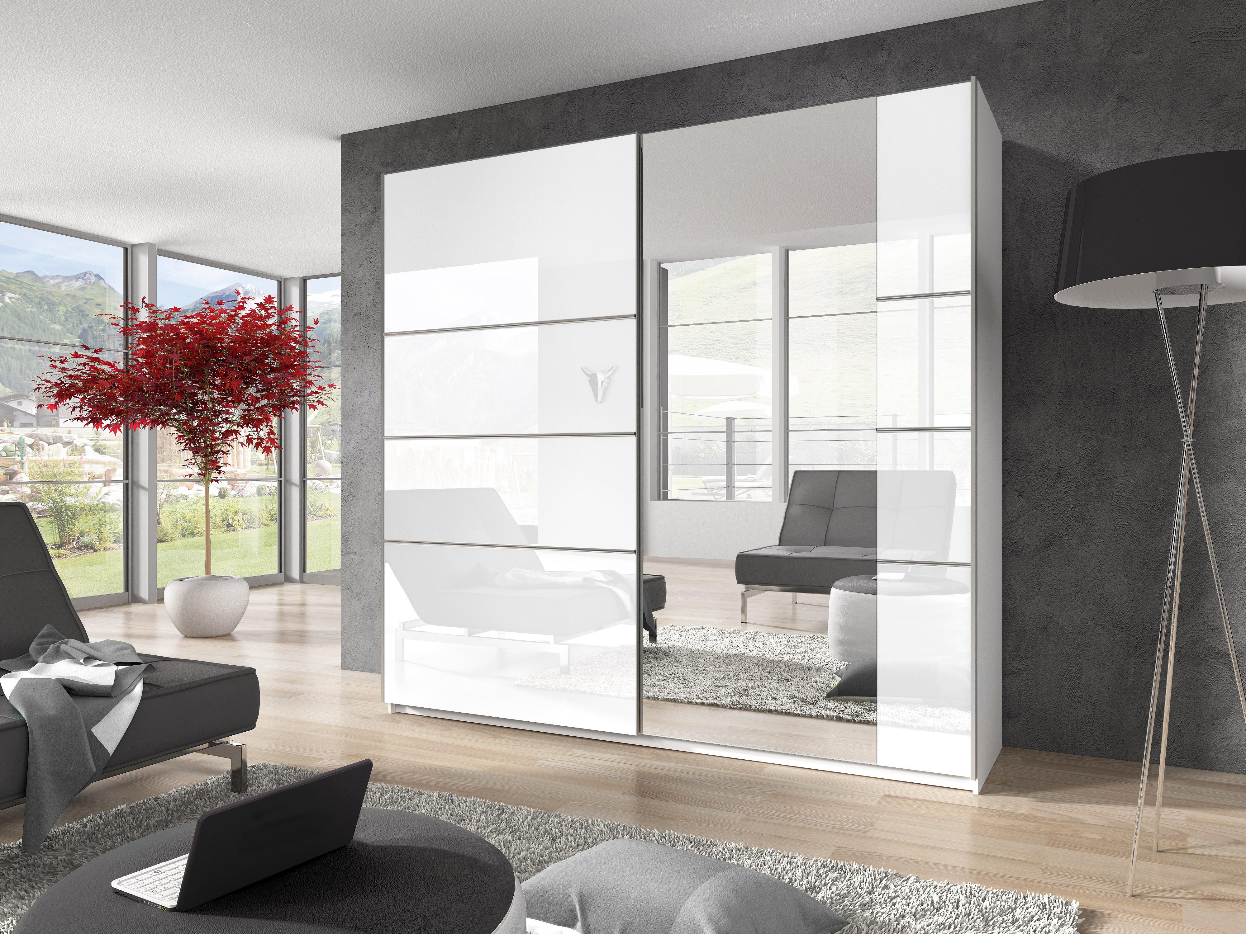 Šatní skříň - Benson - Typ 58 (bílá + lesk bílý + zrcadlo)