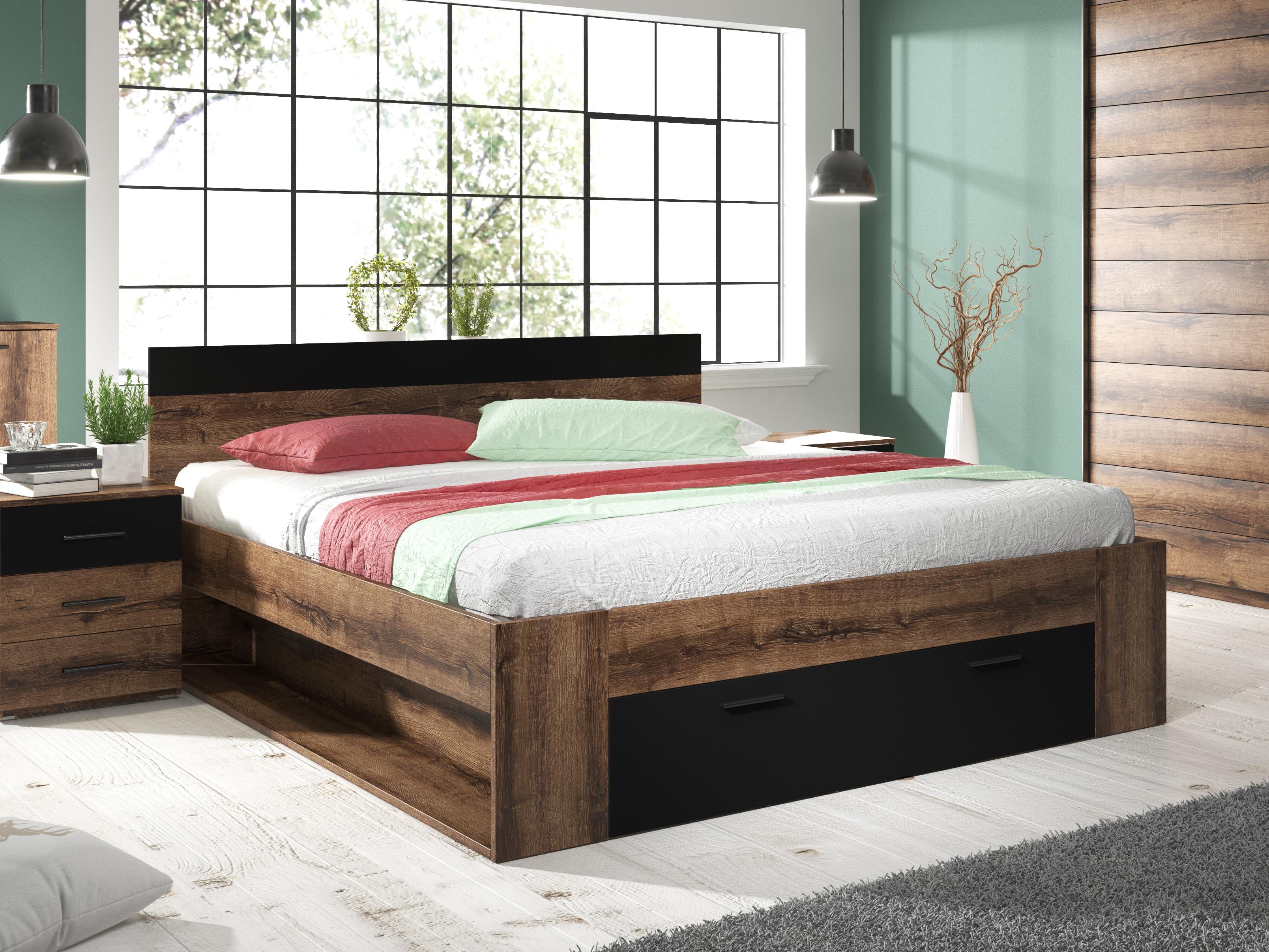 Manželská postel 160 cm - Benson - Typ 91 (dub monastery + černá)