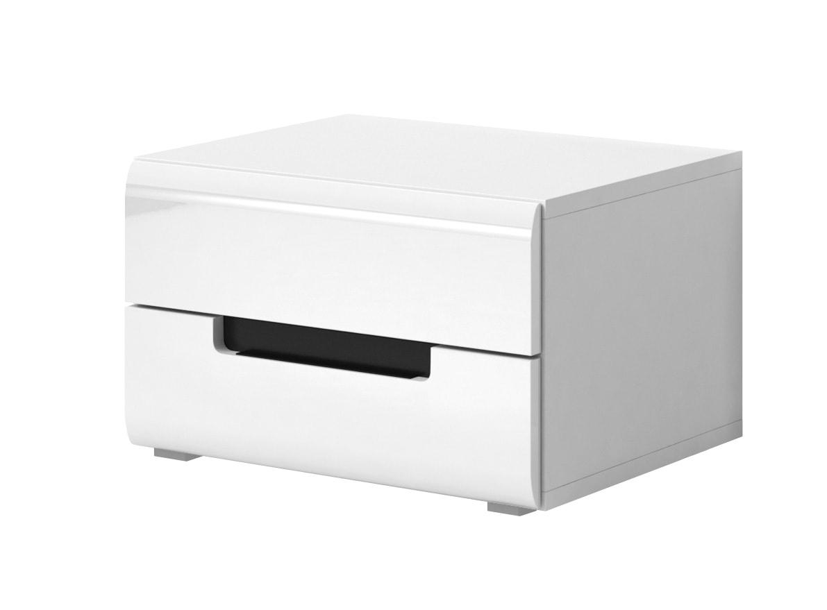Noční stolek - Hayle - Typ 22 (bílá + bílý vysoký lesk)