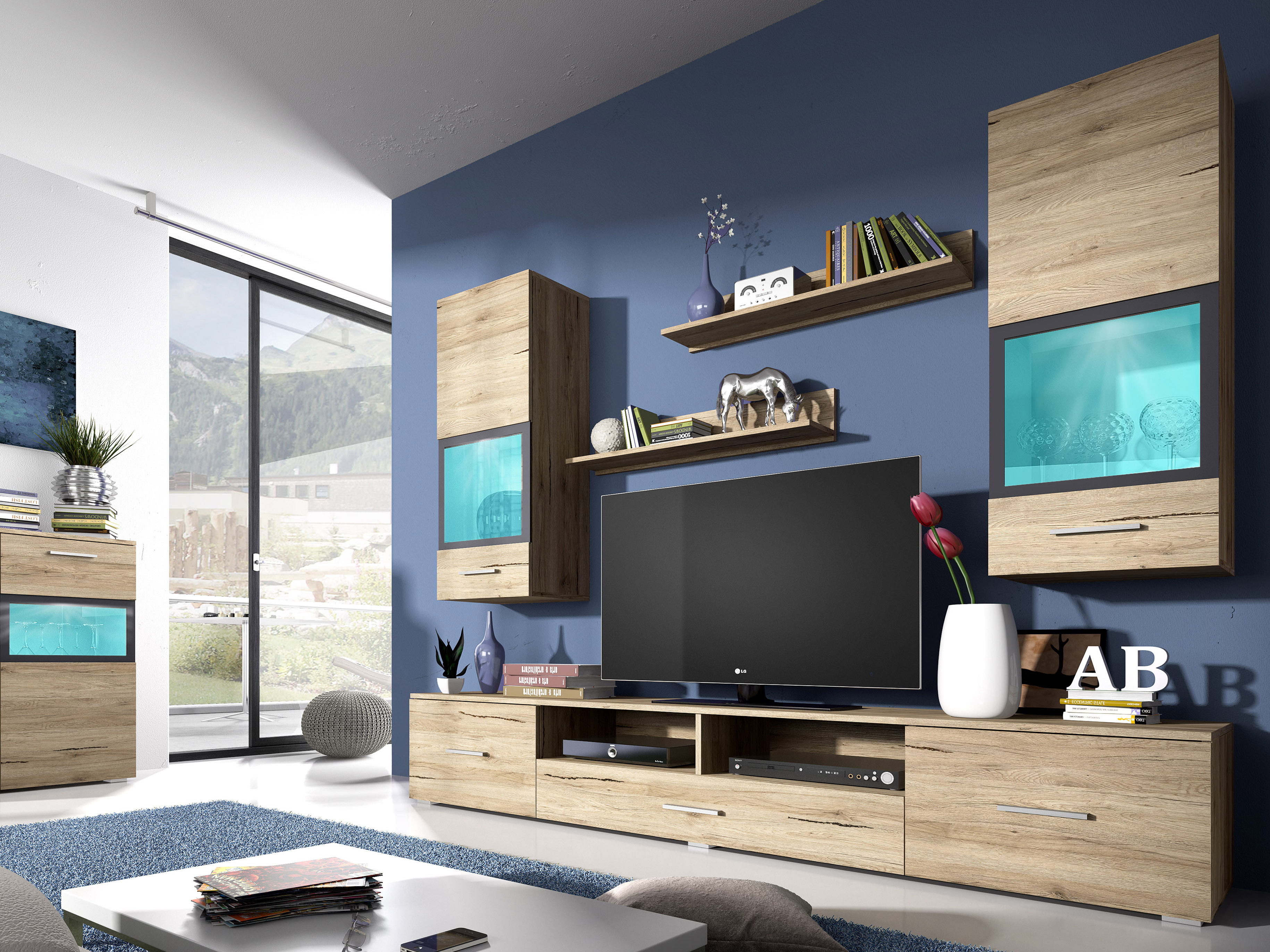 Obývací stěna - Sapphire - Typ 09 (dub san remo)