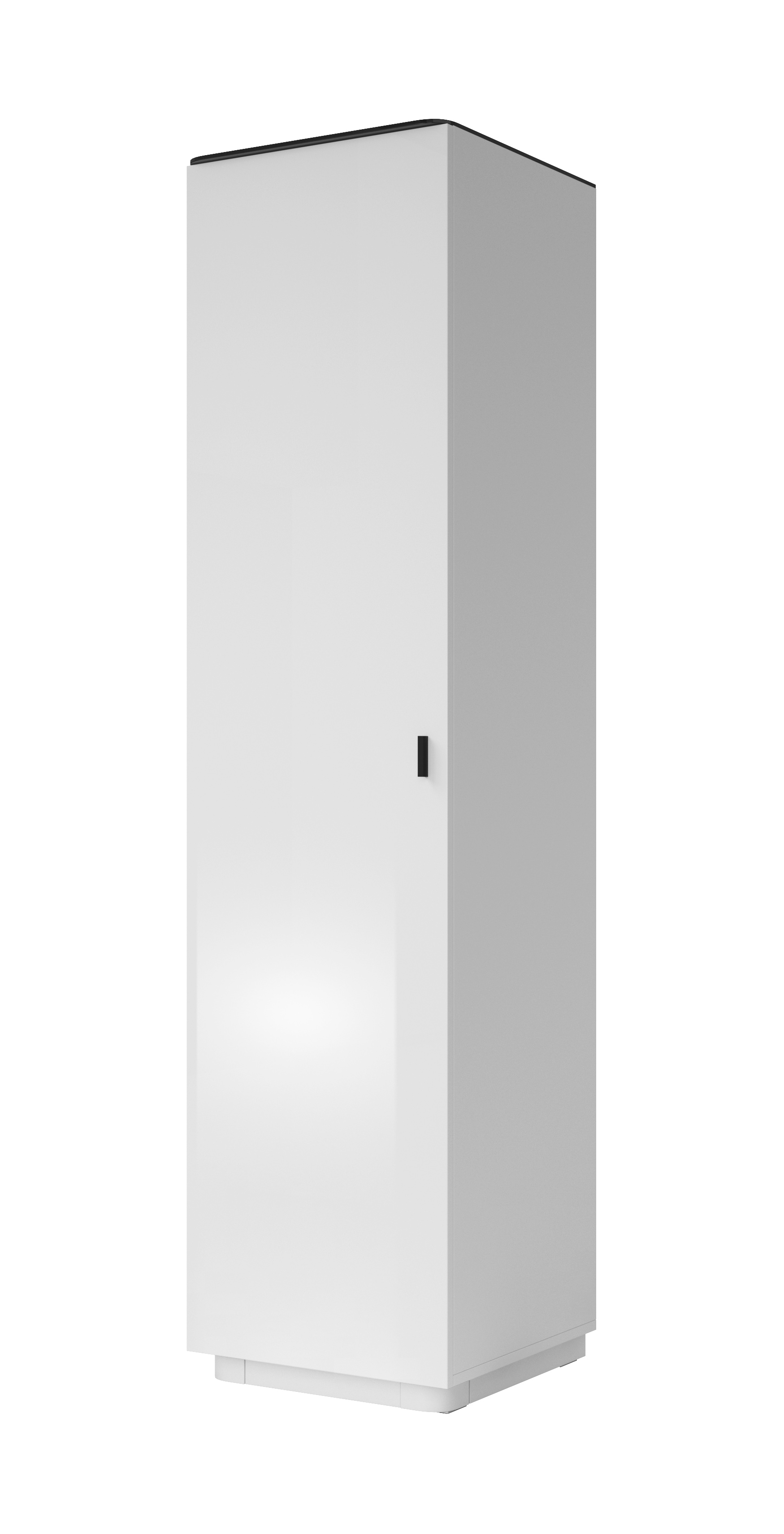 Šatní skříň - Toft - Typ 17 L/P (bílá + černé sklo)
