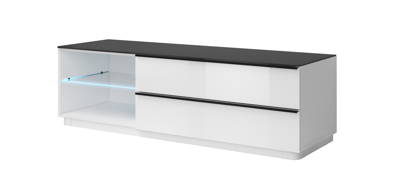 TV stolek/skříňka - Toft - Typ 40 (bílá + černé sklo)