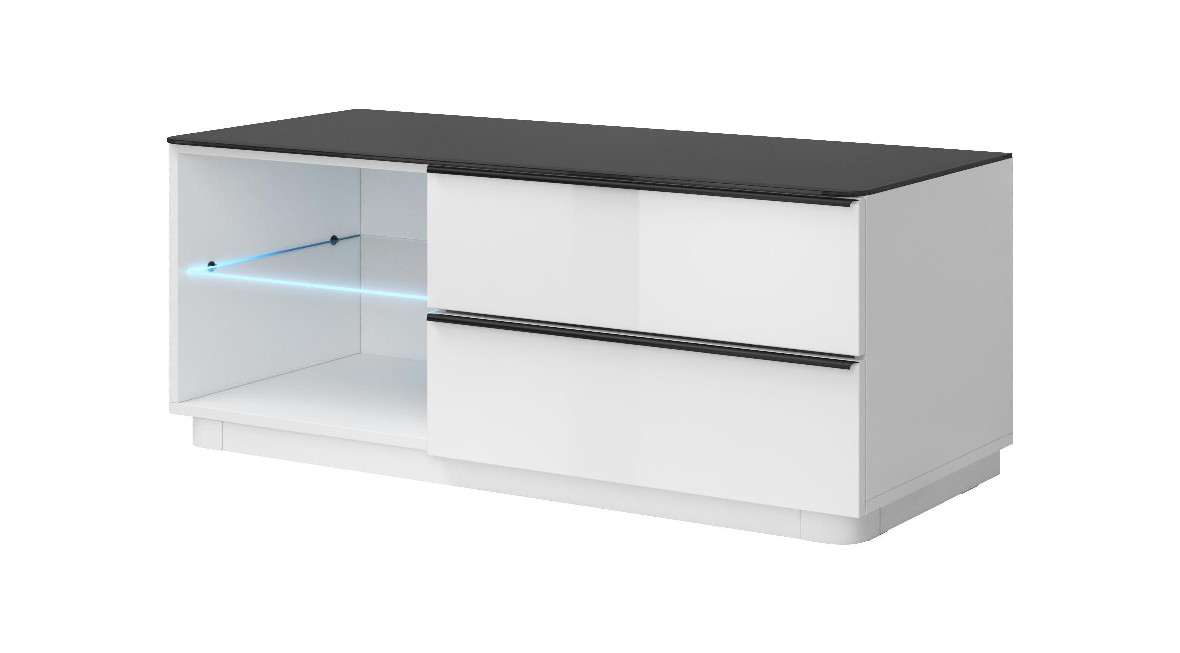 TV stolek/skříňka - Toft - Typ 41 (bílá + černé sklo)