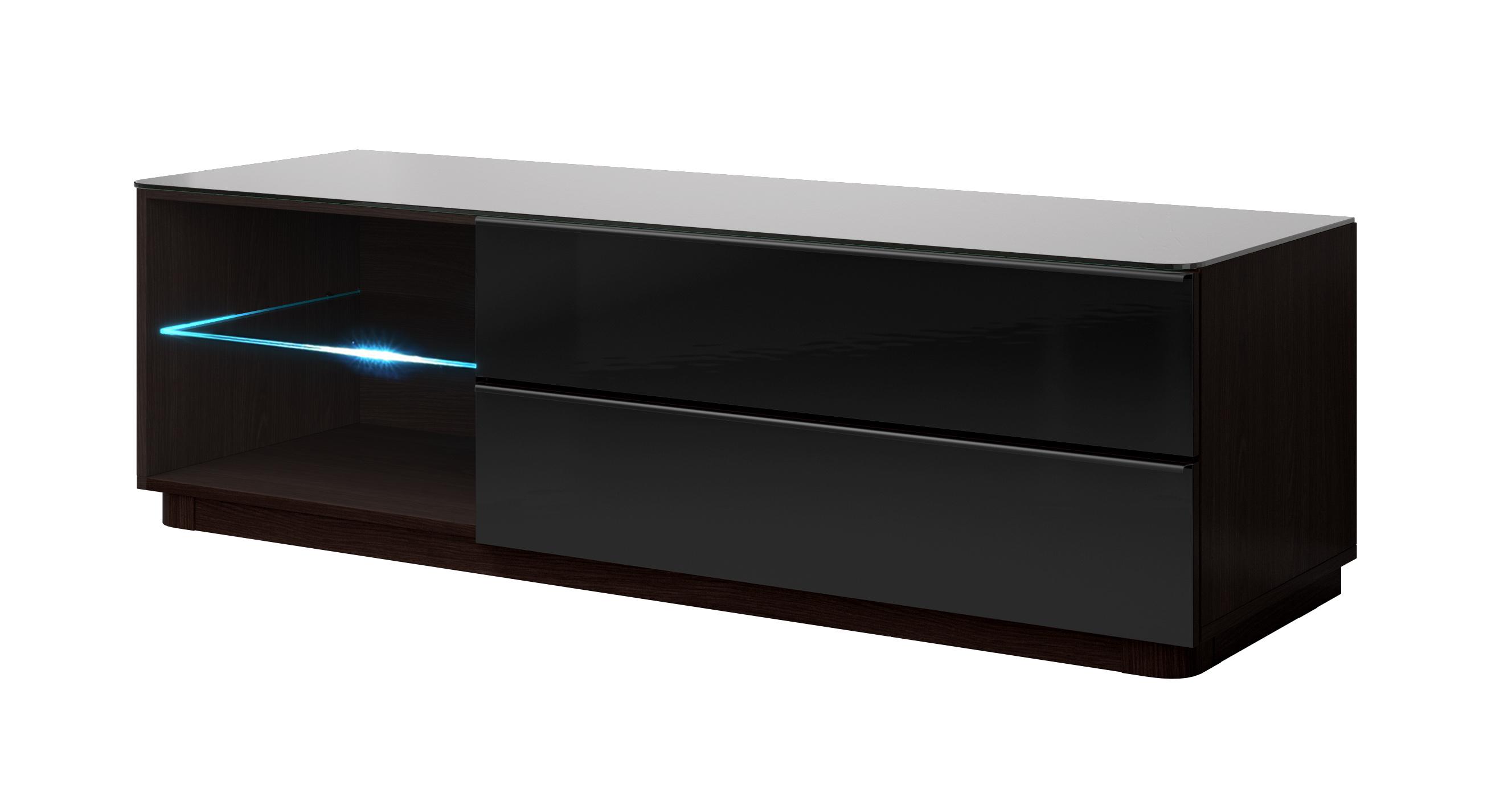 TV stolek/skříňka - Toft - Typ 40 (wenge + černé sklo)
