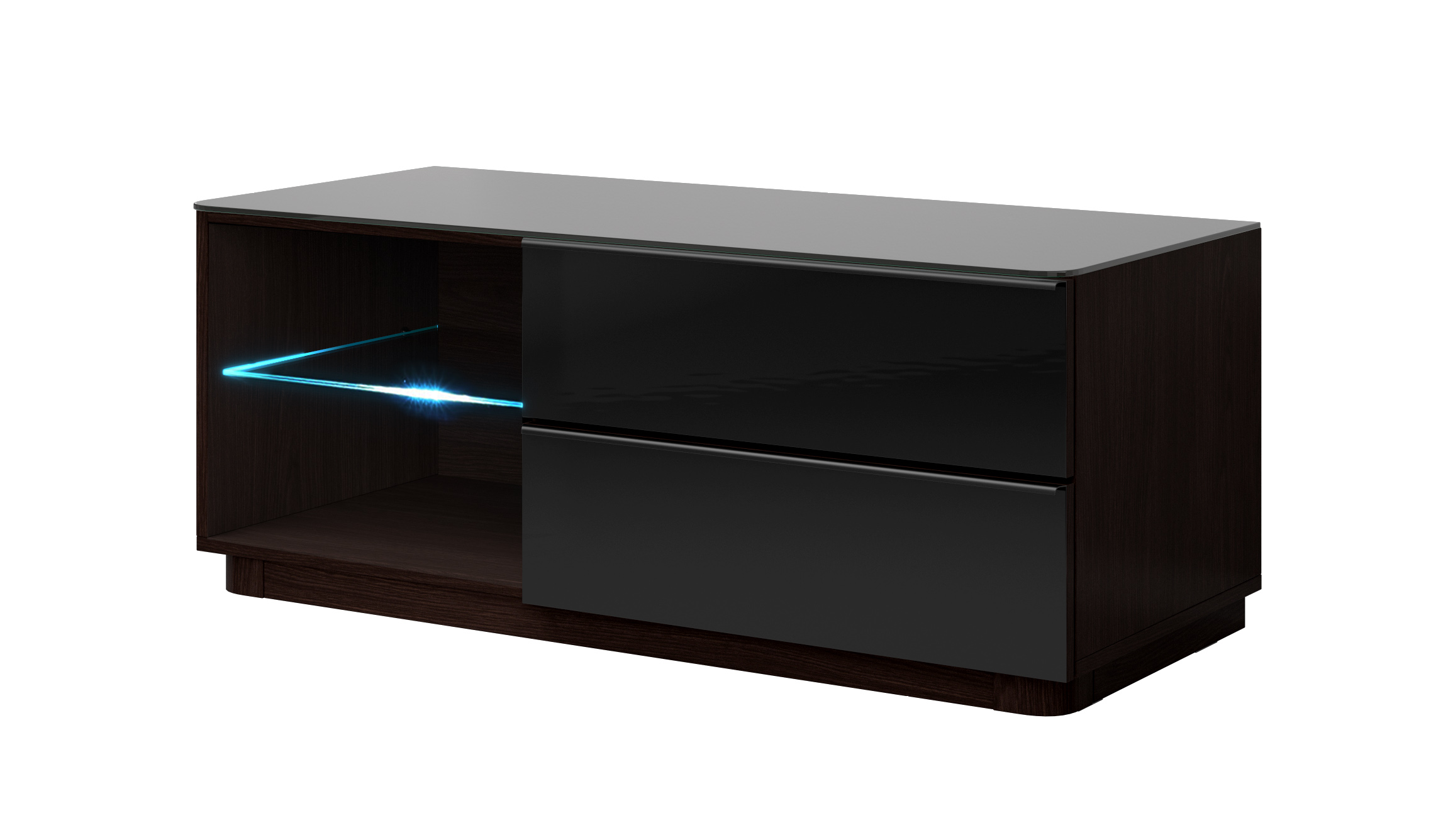 TV stolek/skříňka - Toft - Typ 41 (wenge + černé sklo)