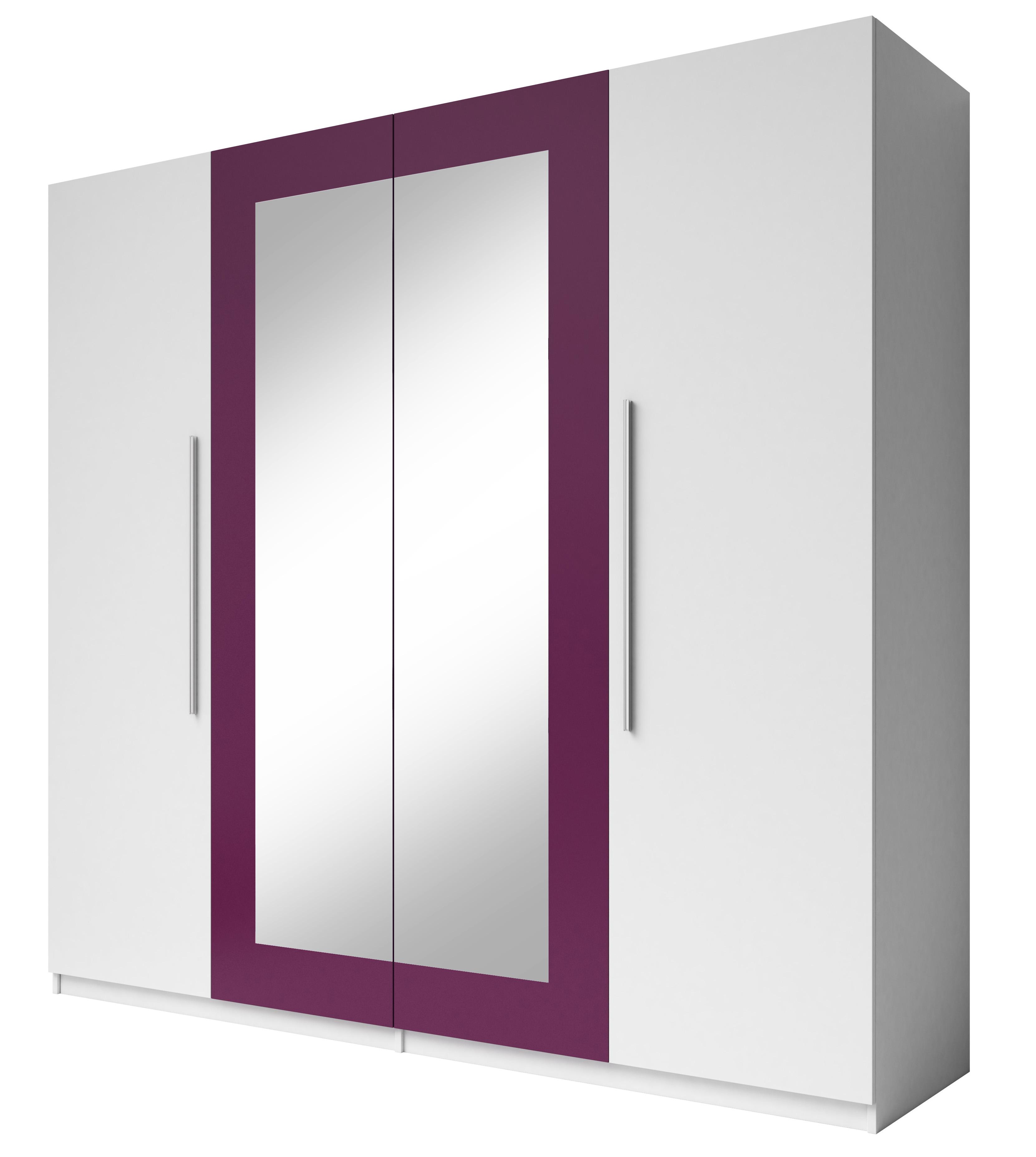 Šatní skříň - Verwood - Typ 20 (bílá + fialová)