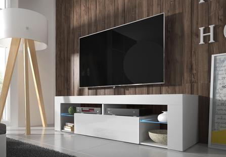 TV stolek/skříňka - Liala (bílá + bílý lesk) (s LED)