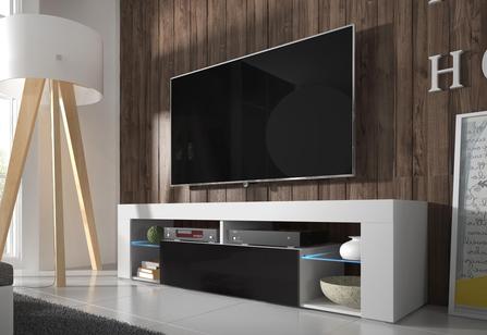 TV stolek/skříňka - Liala (bílá + černý lesk) (s LED)