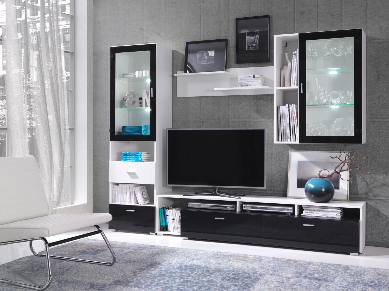 Obývací stěna - Orwell - O1 (bílá + lesk černý)