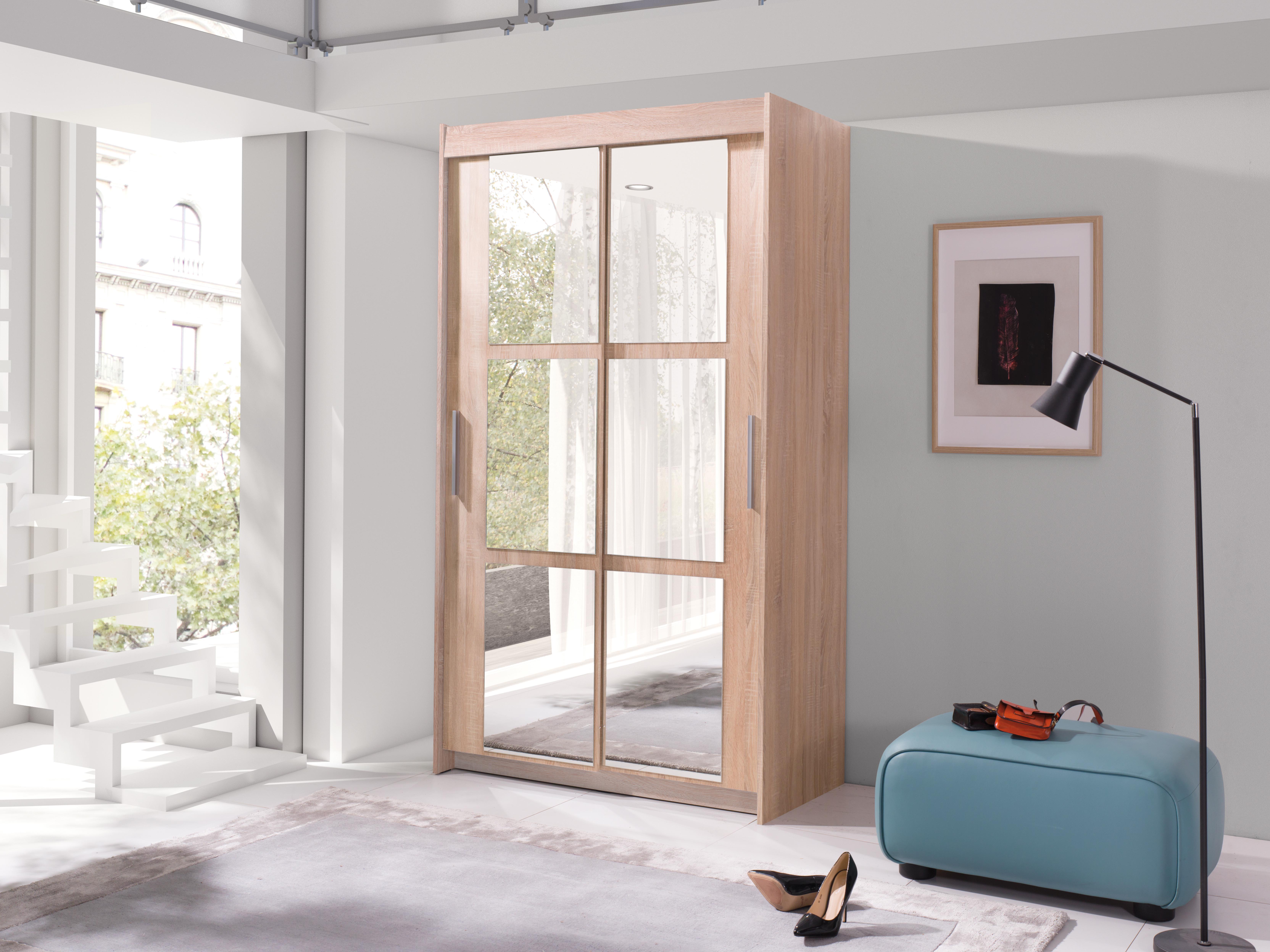 Šatní skříň - Kenton 120 (dub sonoma + zrcadlo)
