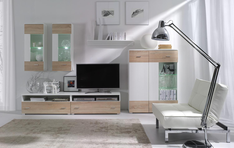 Obývací stěna - Welton - W1 (bílá + dub sonoma)