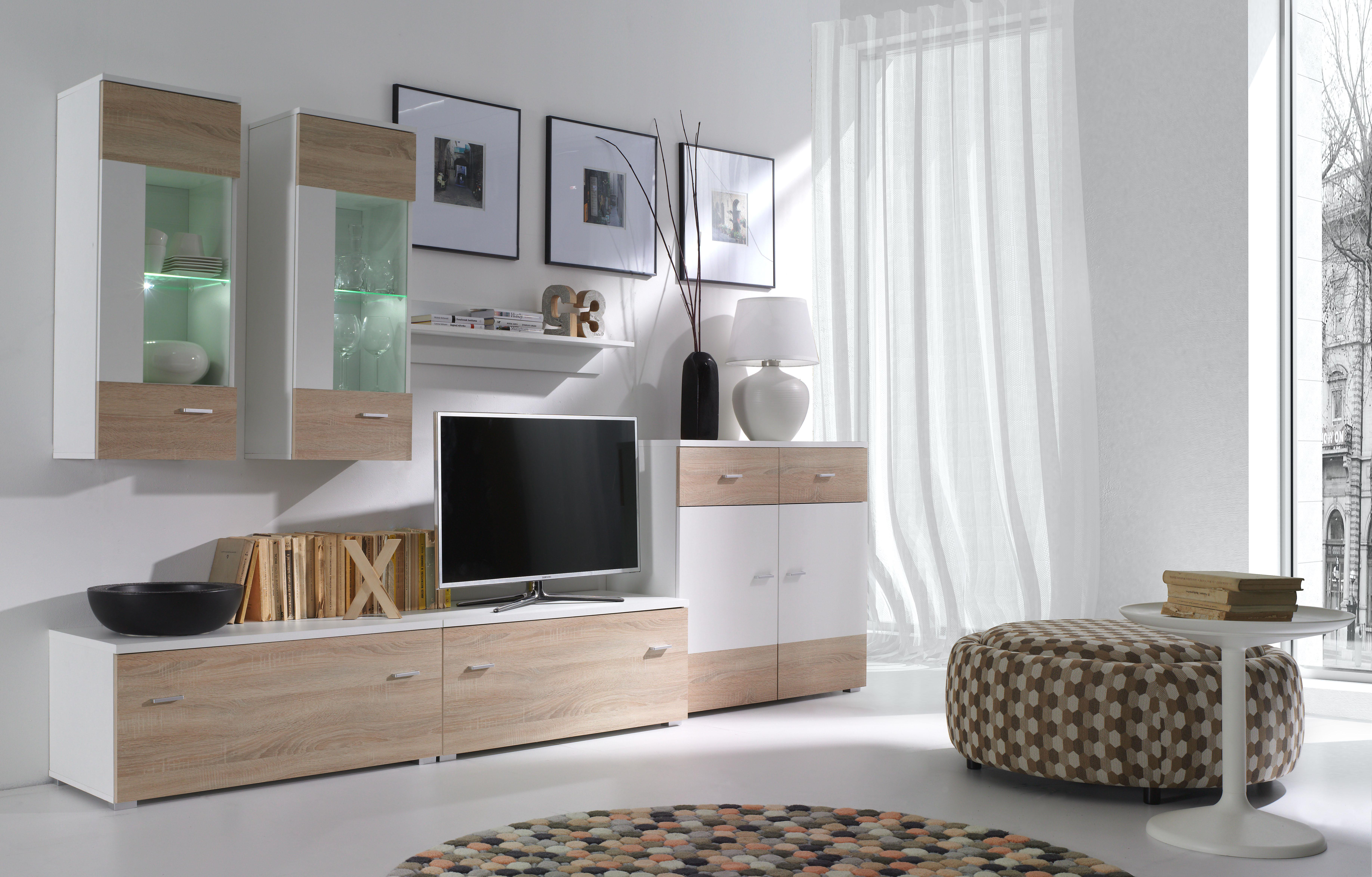 Obývací stěna - Welton - W2 (bílá + dub sonoma)