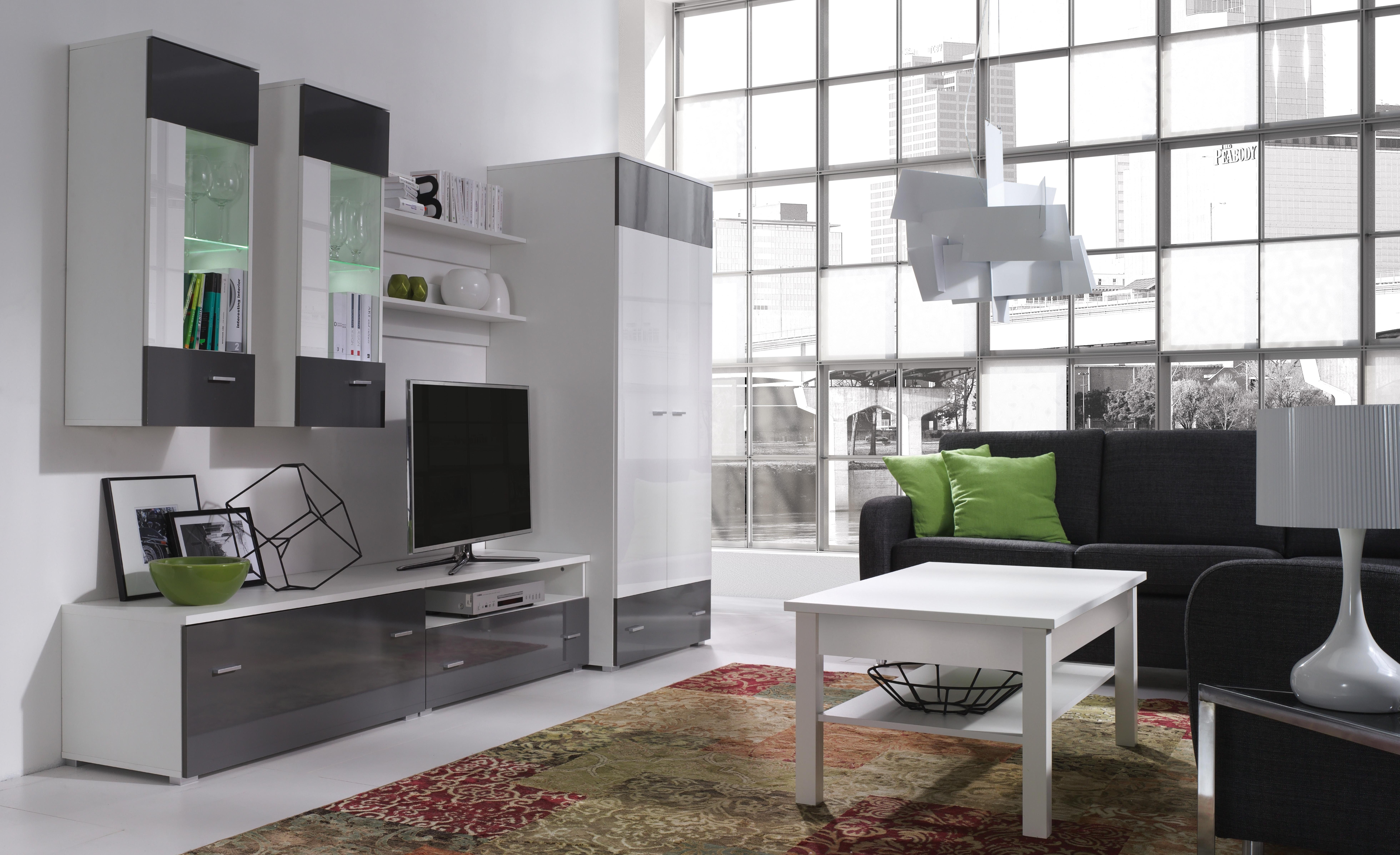 Obývací stěna - Welton - W4 (bílá + lesk bílý + lesk grafit)