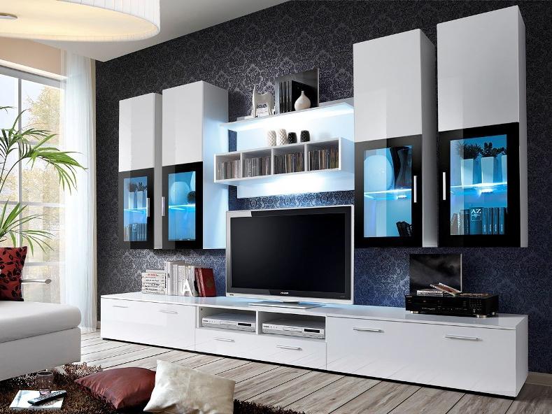 Obývací stěna - Aston 1 (bílá + bílý lesk) (s osvětlením)