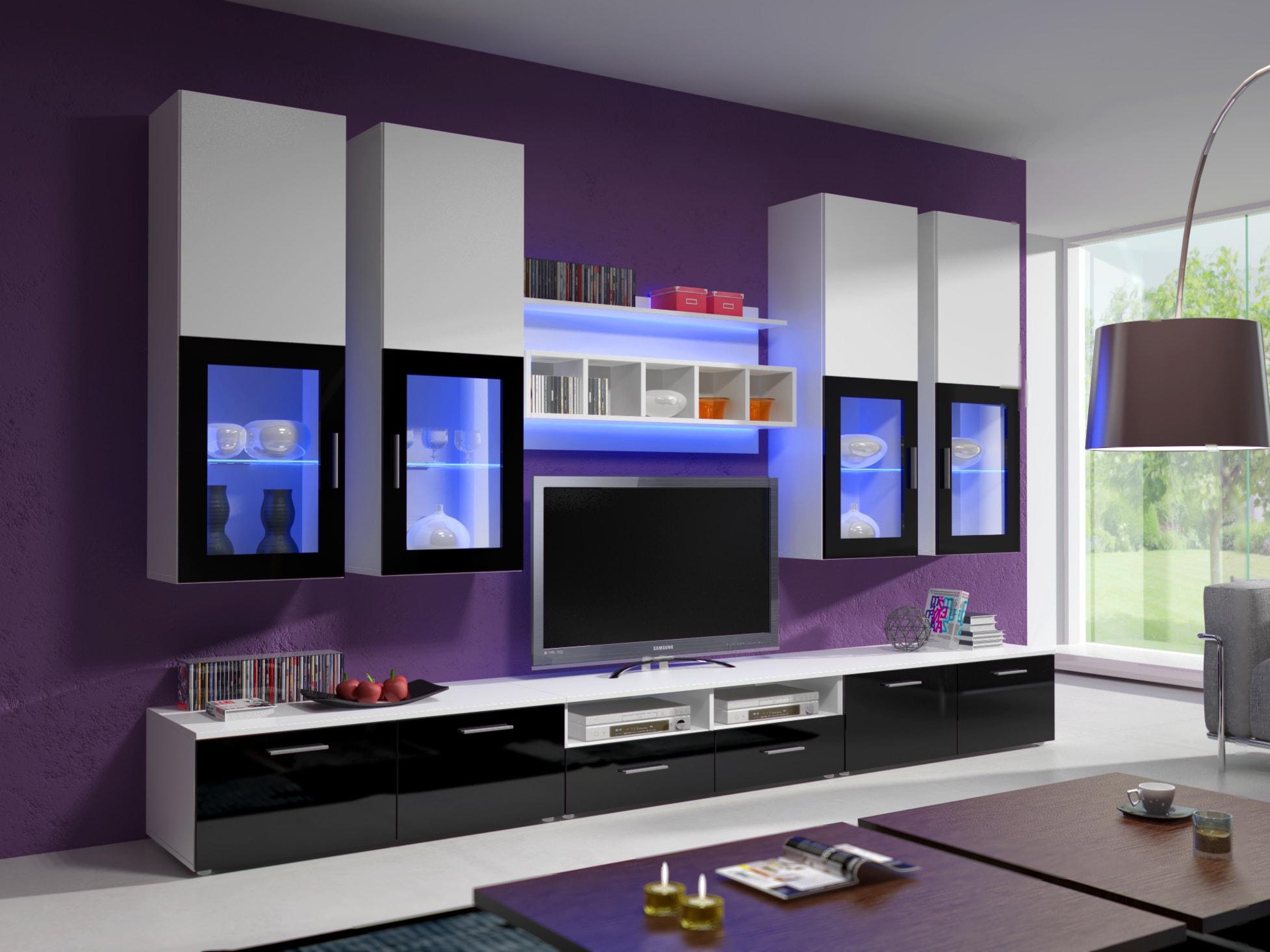Obývací stěna - Aston 1 (bílá + černá) (s osvětlením)