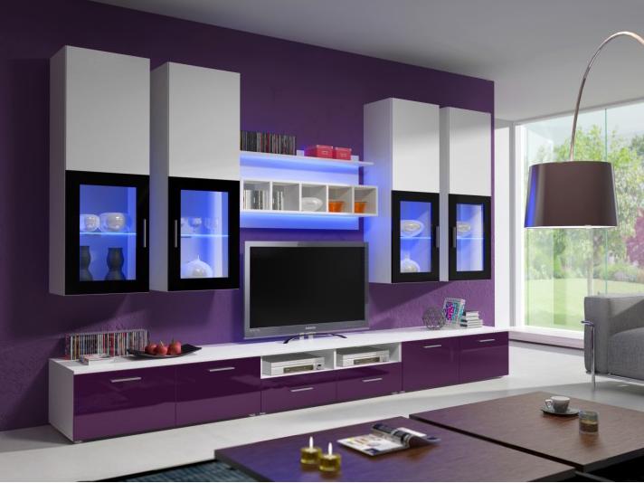 Obývací stěna - Aston 1 (bílá + fialová) (s osvětlením)