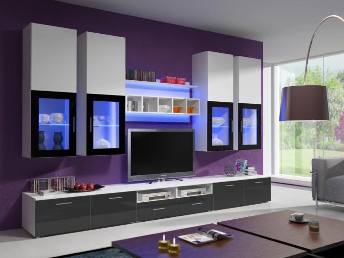 Obývací stěna - Aston 1 (bílá + šedá) (s osvětlením)