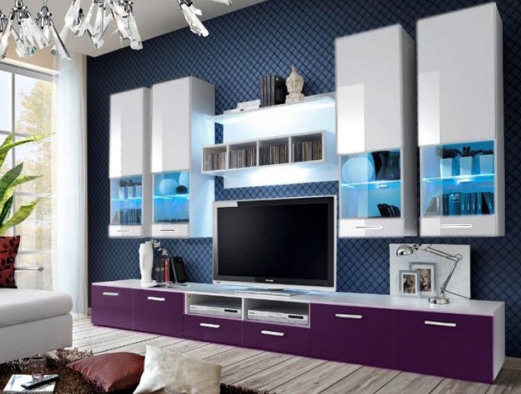 Obývací stěna - Aston 2 (bílá + fialová) (s osvětlením)