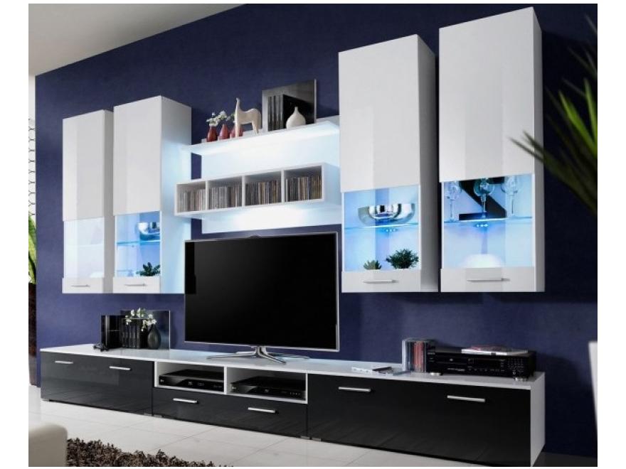 Obývací stěna - Aston 2 (bílá + černá) (s osvětlením)