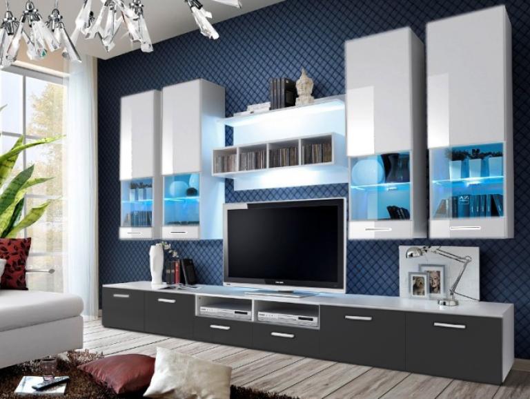 Obývací stěna - Aston 2 (bílá + šedá) (s osvětlením)