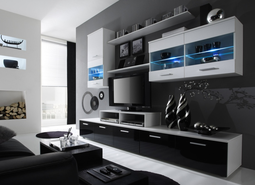 Obývací Stěna - Beverley I (bílá + černá) (s osvětlením)