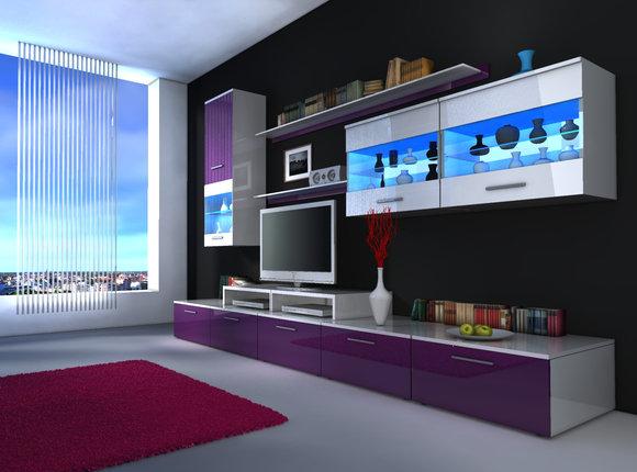 Obývací Stěna - Beverley I (bílá + fialová) (s osvětlením)