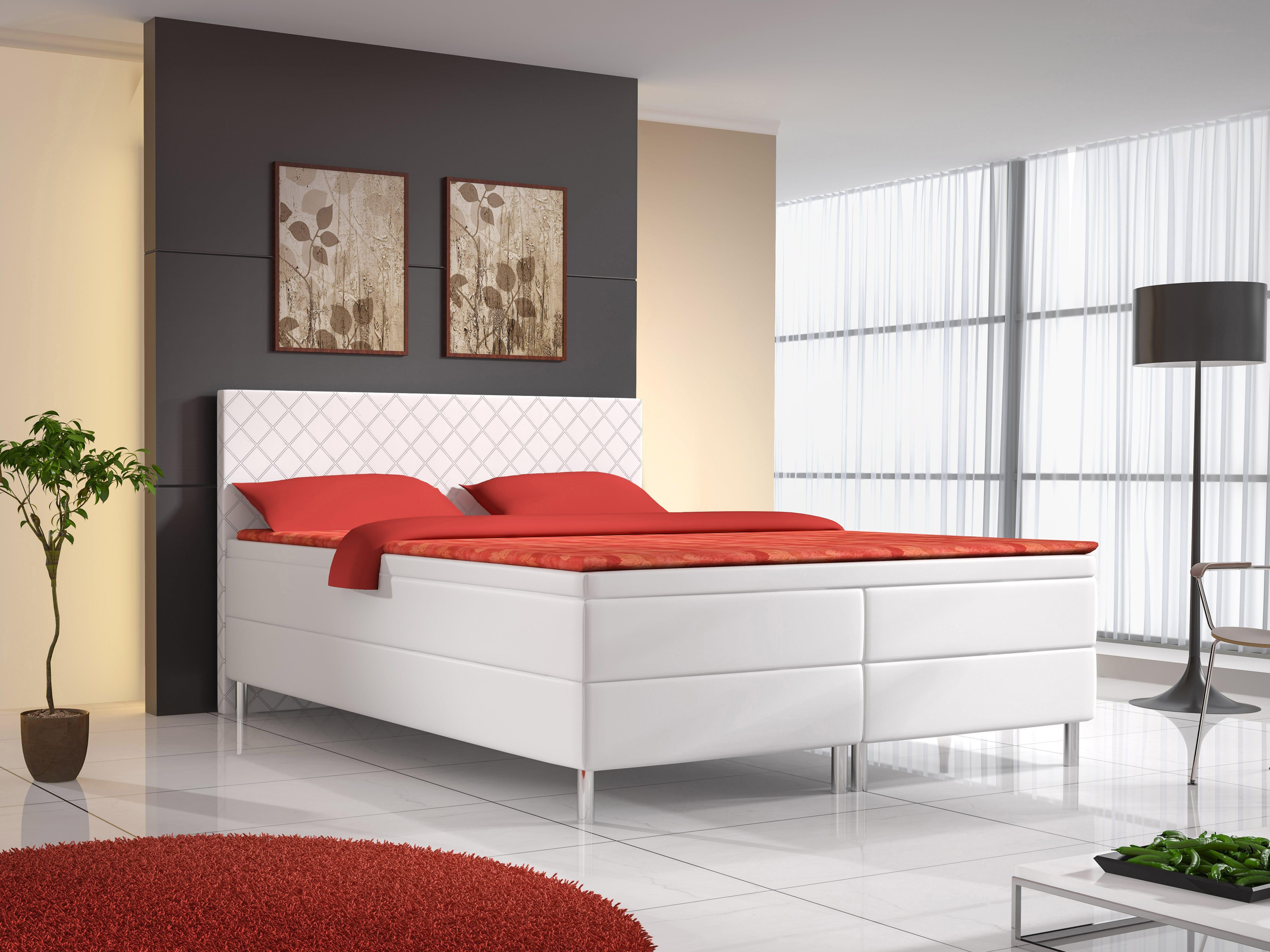 Manželská postel Boxspring 140 cm - Mariana (bílá) (s matracemi)