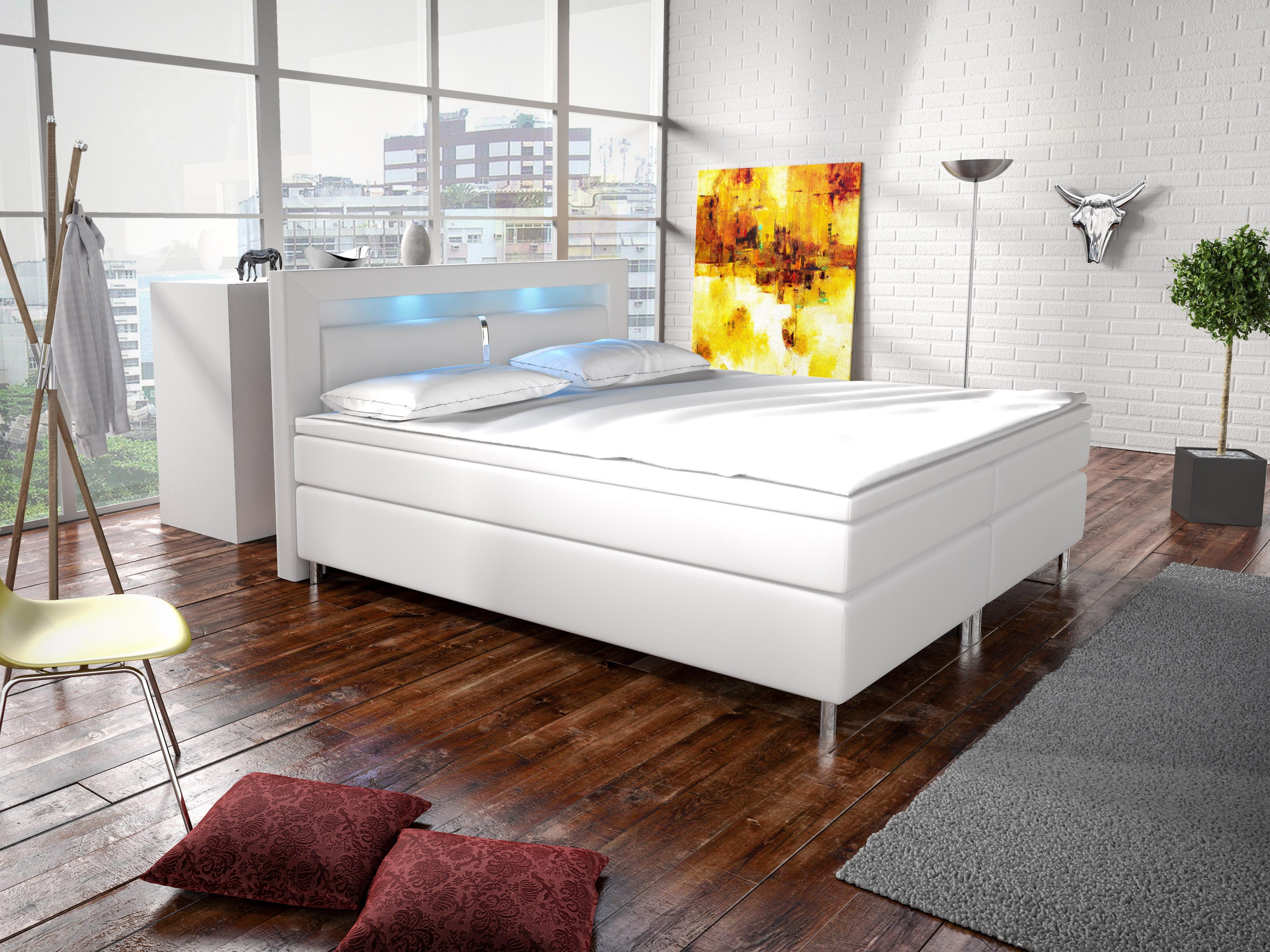 Manželská postel Boxspring 140 cm - Marilia I (bílá) (s matracemi)