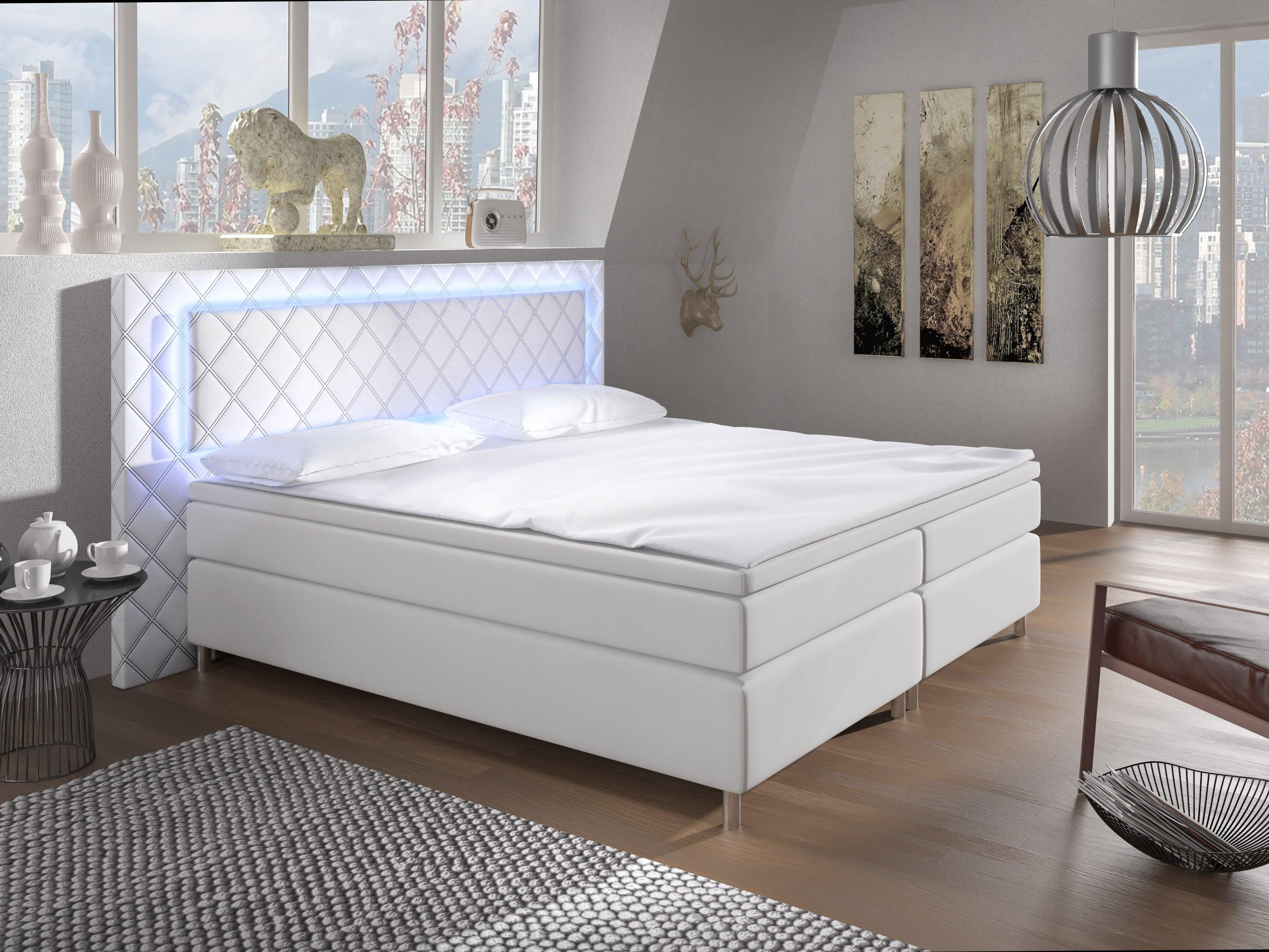 Manželská postel Boxspring 140 cm - Pius (bílá) (s matracemi)