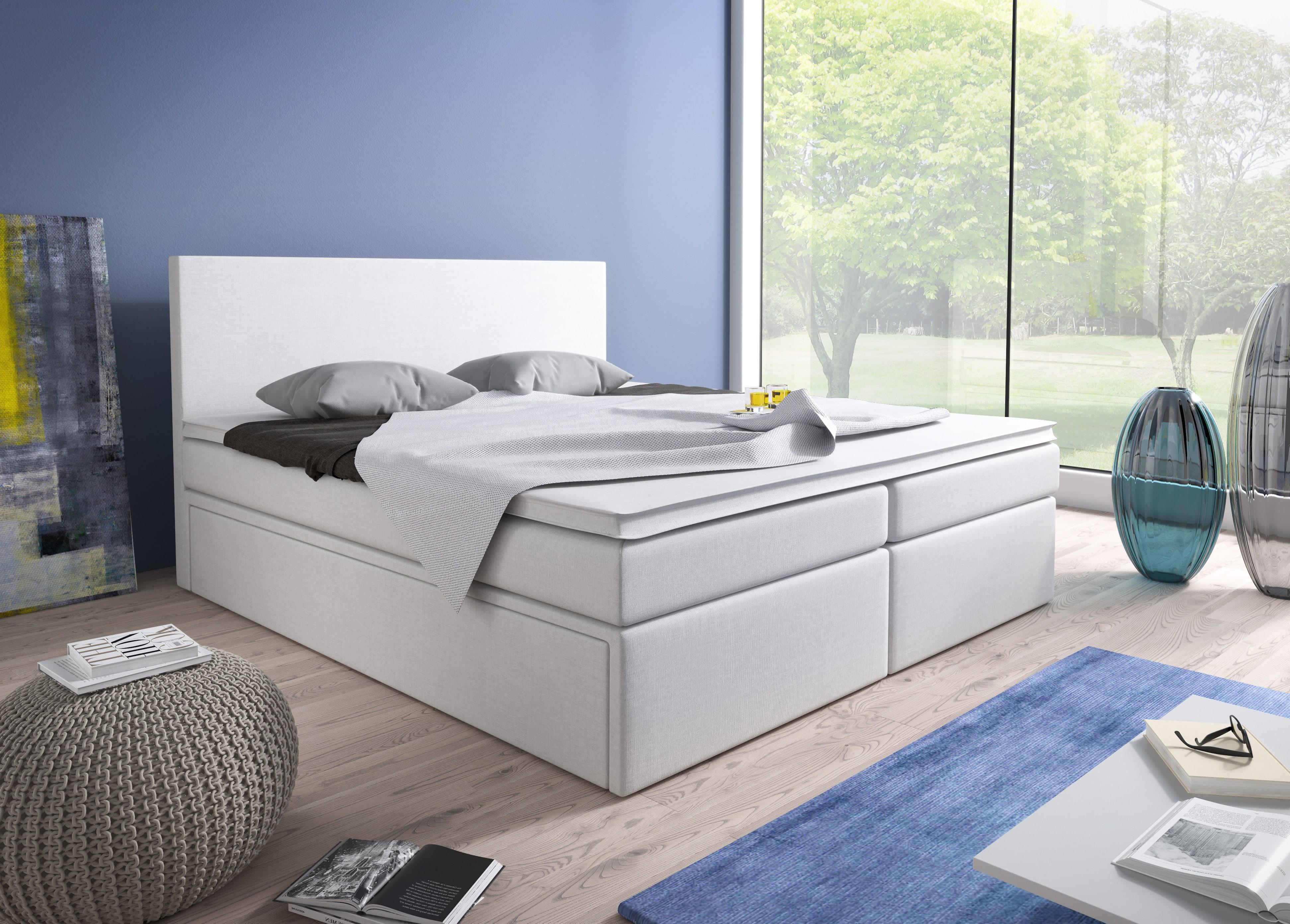 Manželská postel Boxspring 140 cm - Sabina (bílá) (s matracemi)