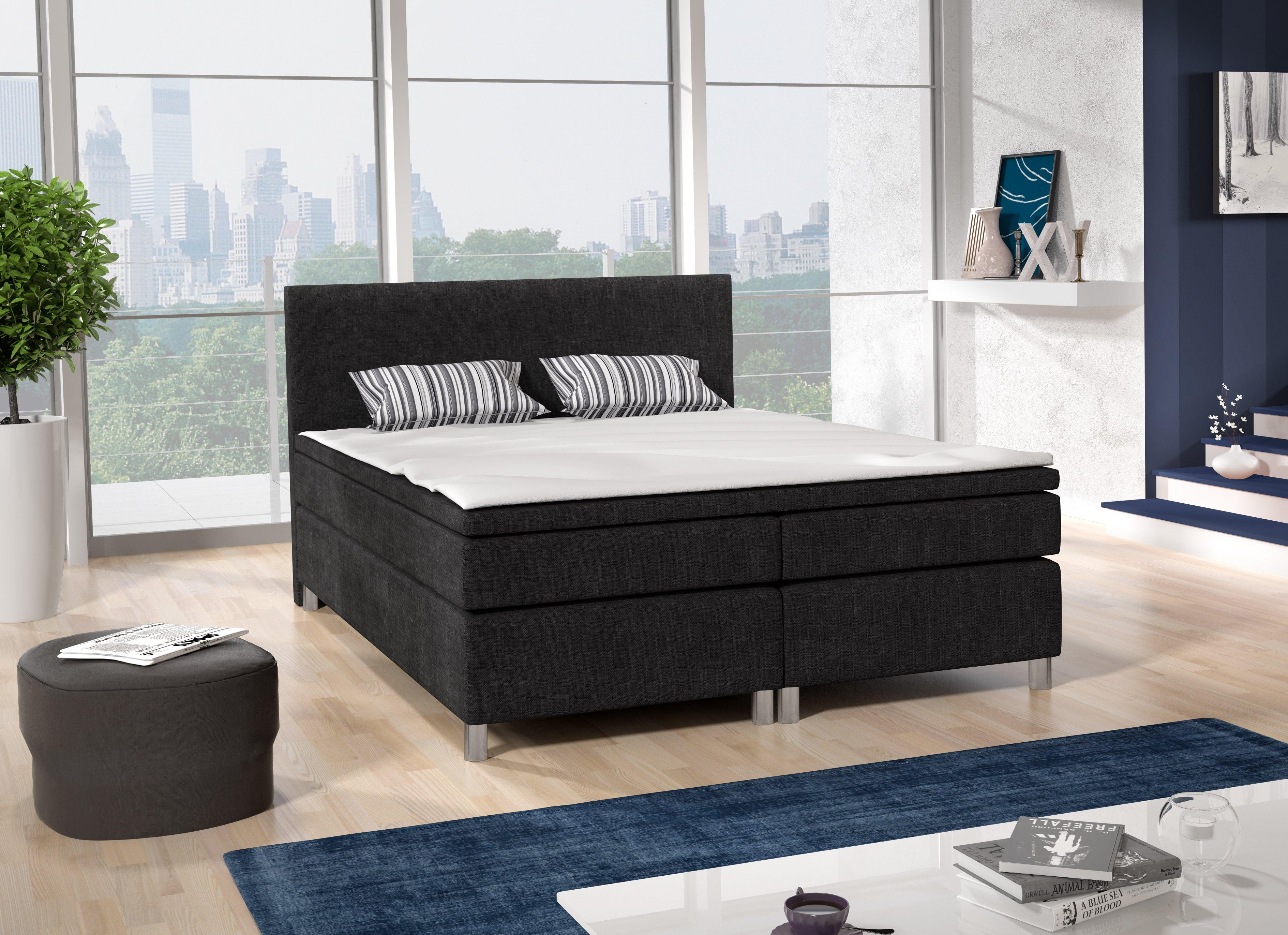 Manželská postel Boxspring 140 cm - Sabina (černá) (s matracemi)