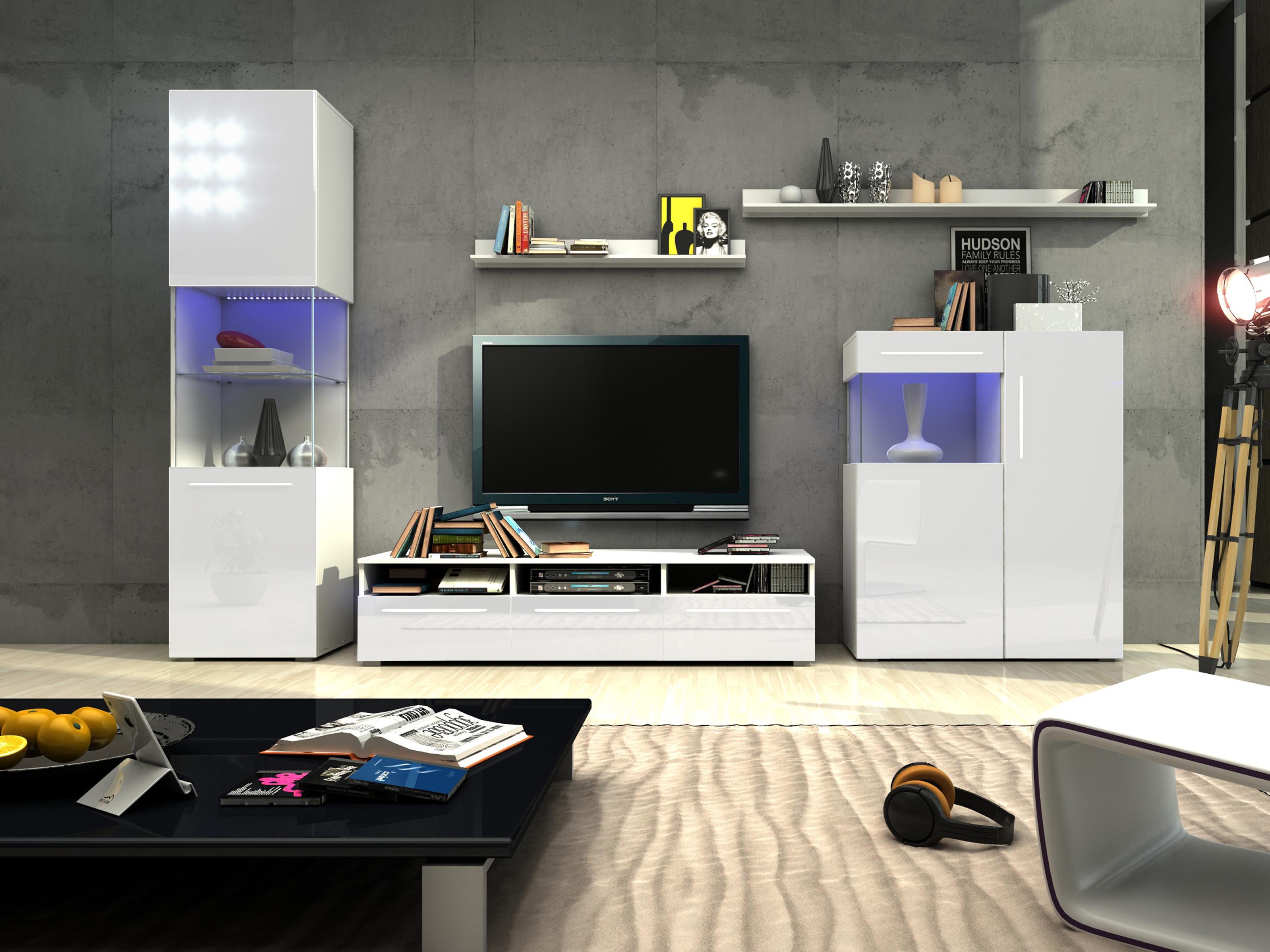 Obývací stěna - Nivel III (bílá + lesk bílý) (s osvětlením)