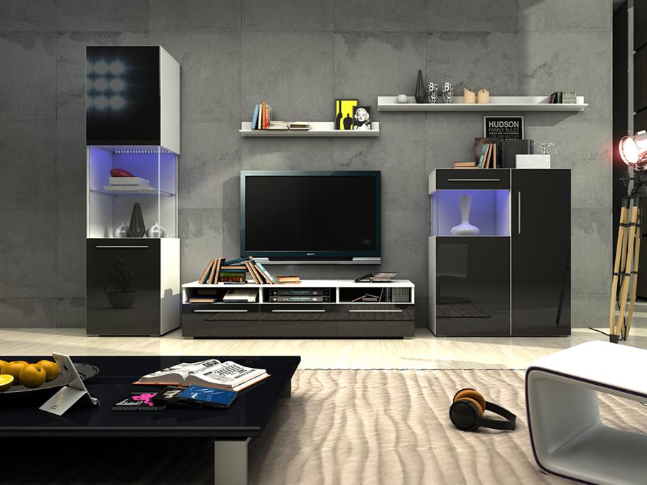 Obývací stěna - Nivel III (bílá + lesk černý) (s osvětlením)