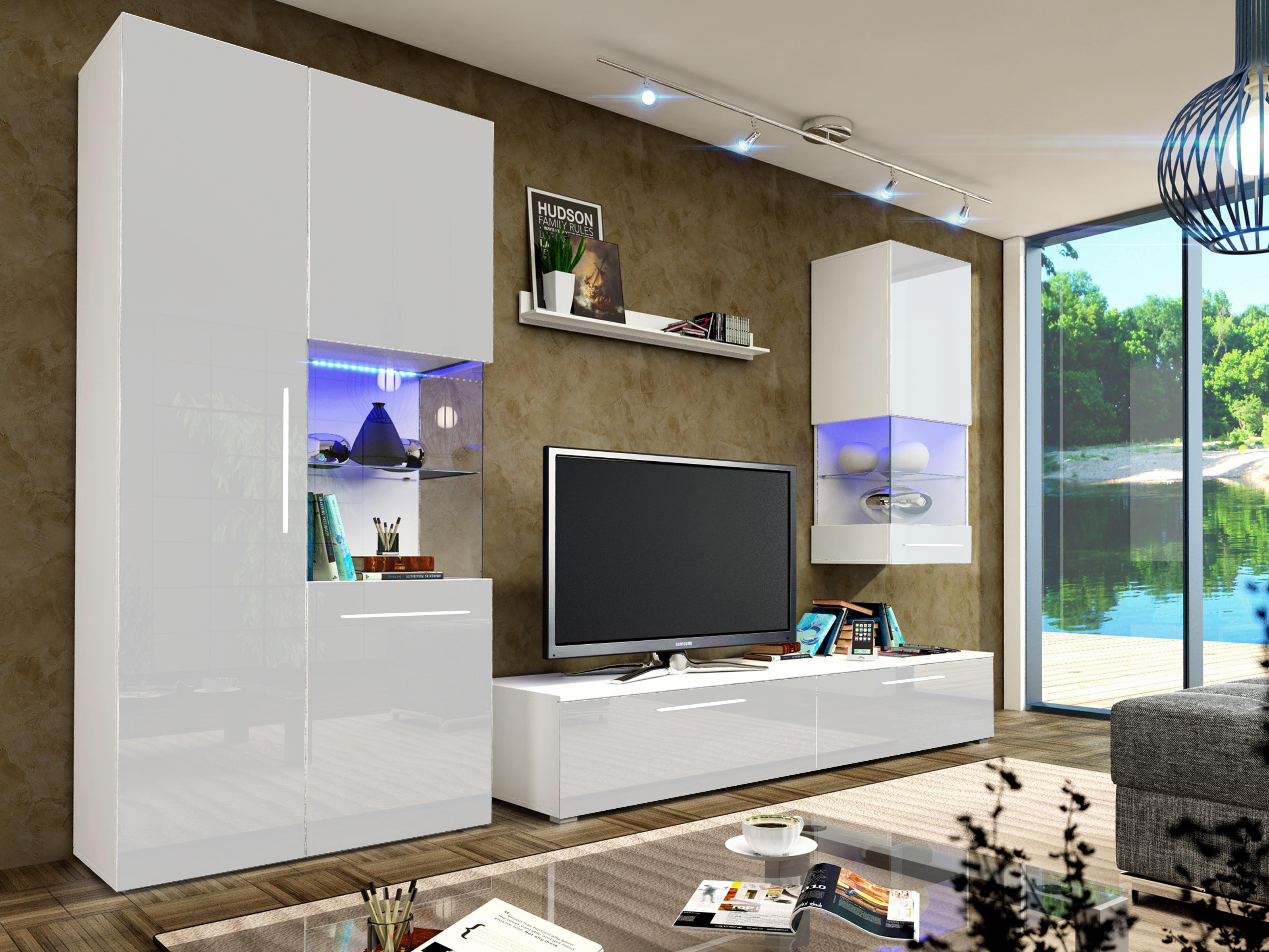 Obývací stěna - Nivel II (bílá + lesk bílý) (s osvětlením)