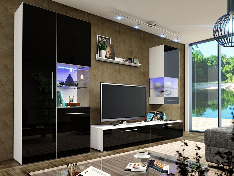 Obývací stěna - Nivel II (bílá + lesk černý) (s osvětlením)