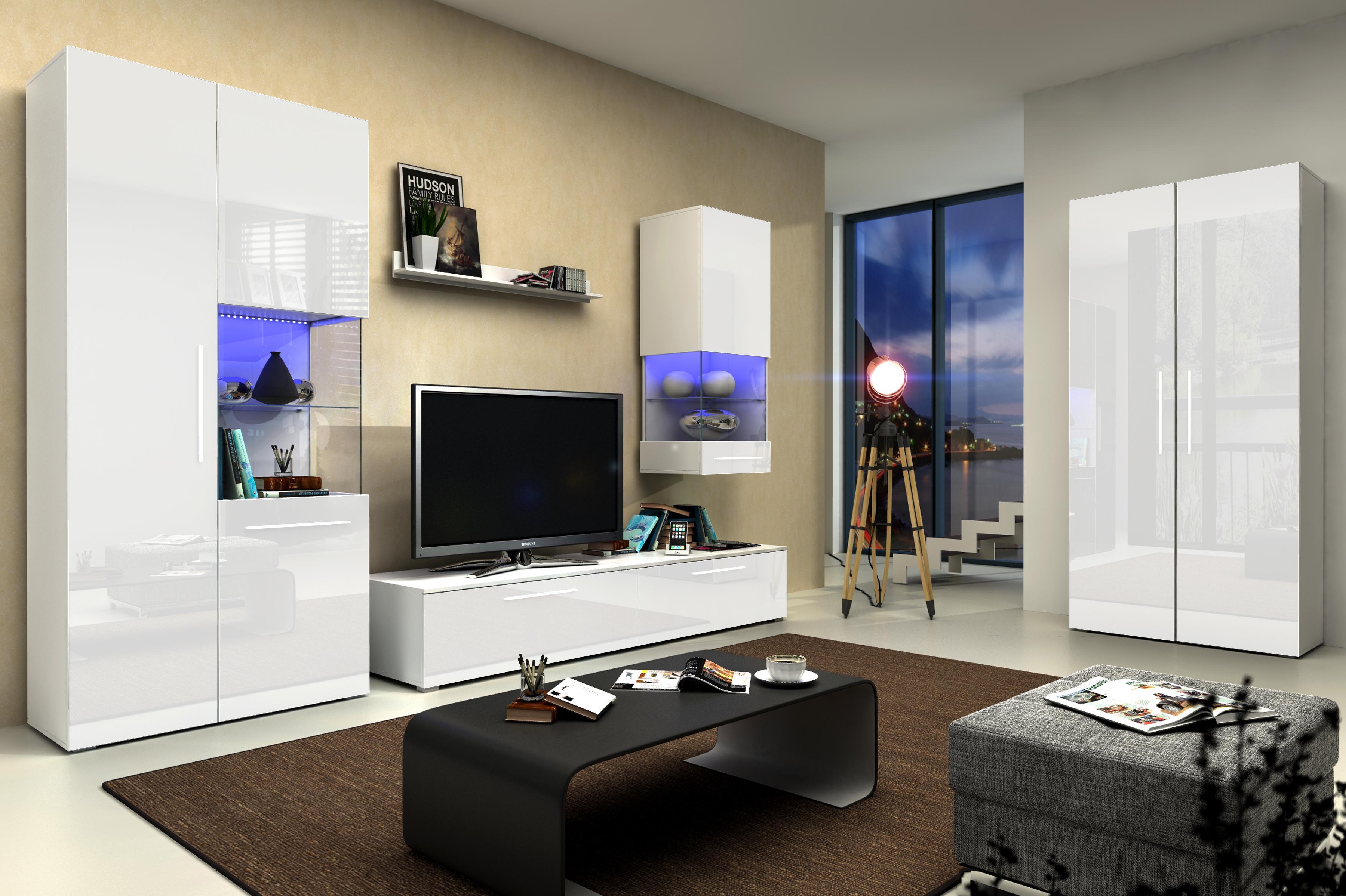 Obývací stěna - Nivel IV (bílá + lesk bílý) (s osvětlením)