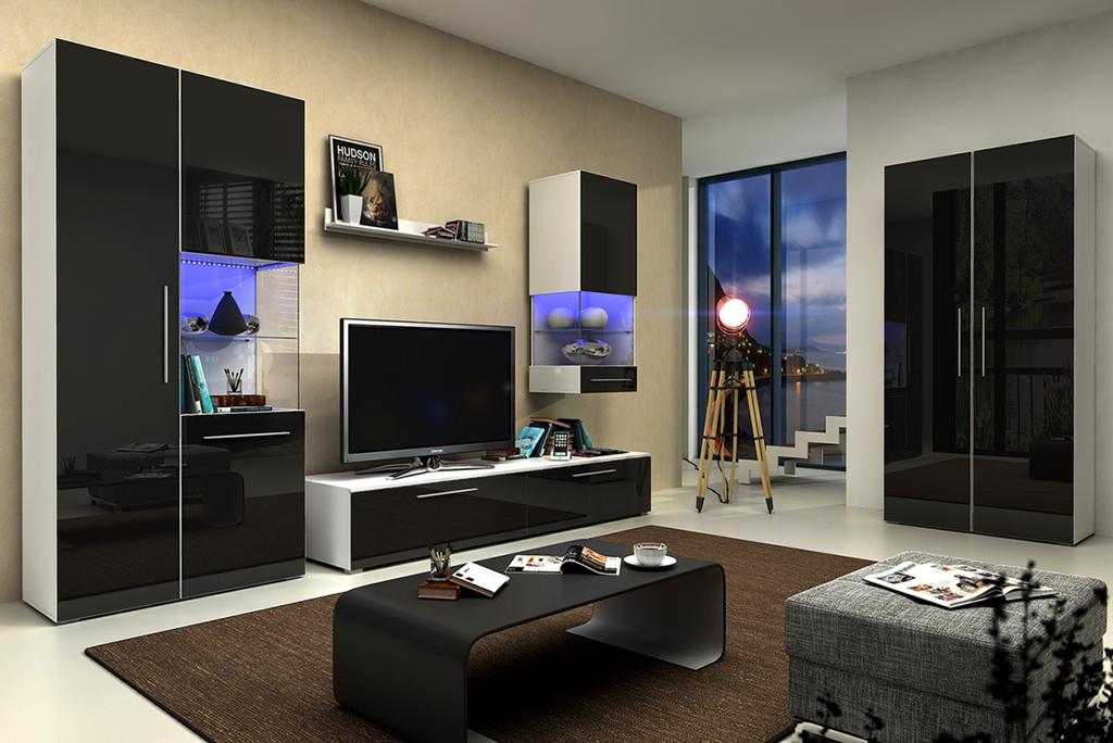 Obývací stěna - Nivel IV (bílá + lesk černý) (s osvětlením)