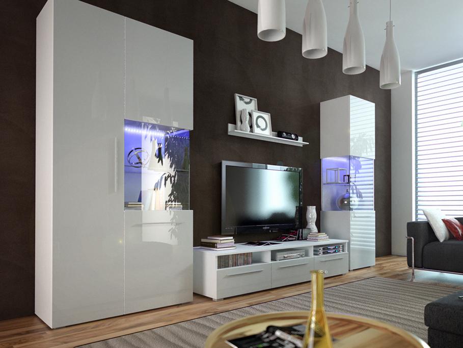 Obývací stěna - Nivel I (bílá + lesk bílý) (s osvětlením)