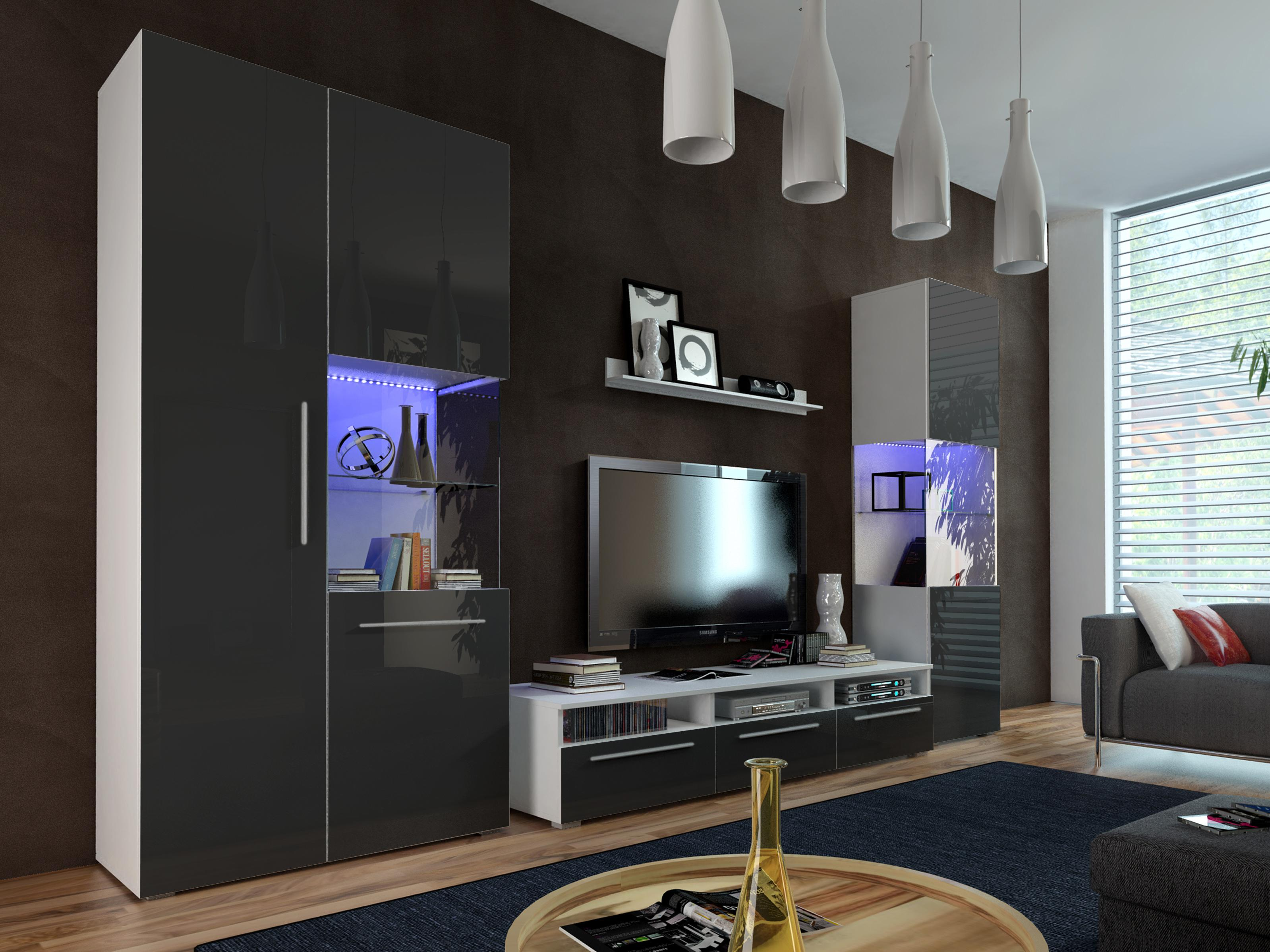 Obývací stěna - Nivel I (bílá + lesk černý) (s osvětlením)