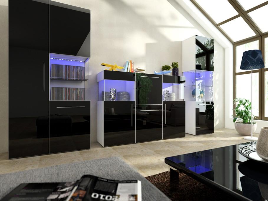 Obývací stěna - Nivel VI (bílá + lesk černý) (s osvětlením)
