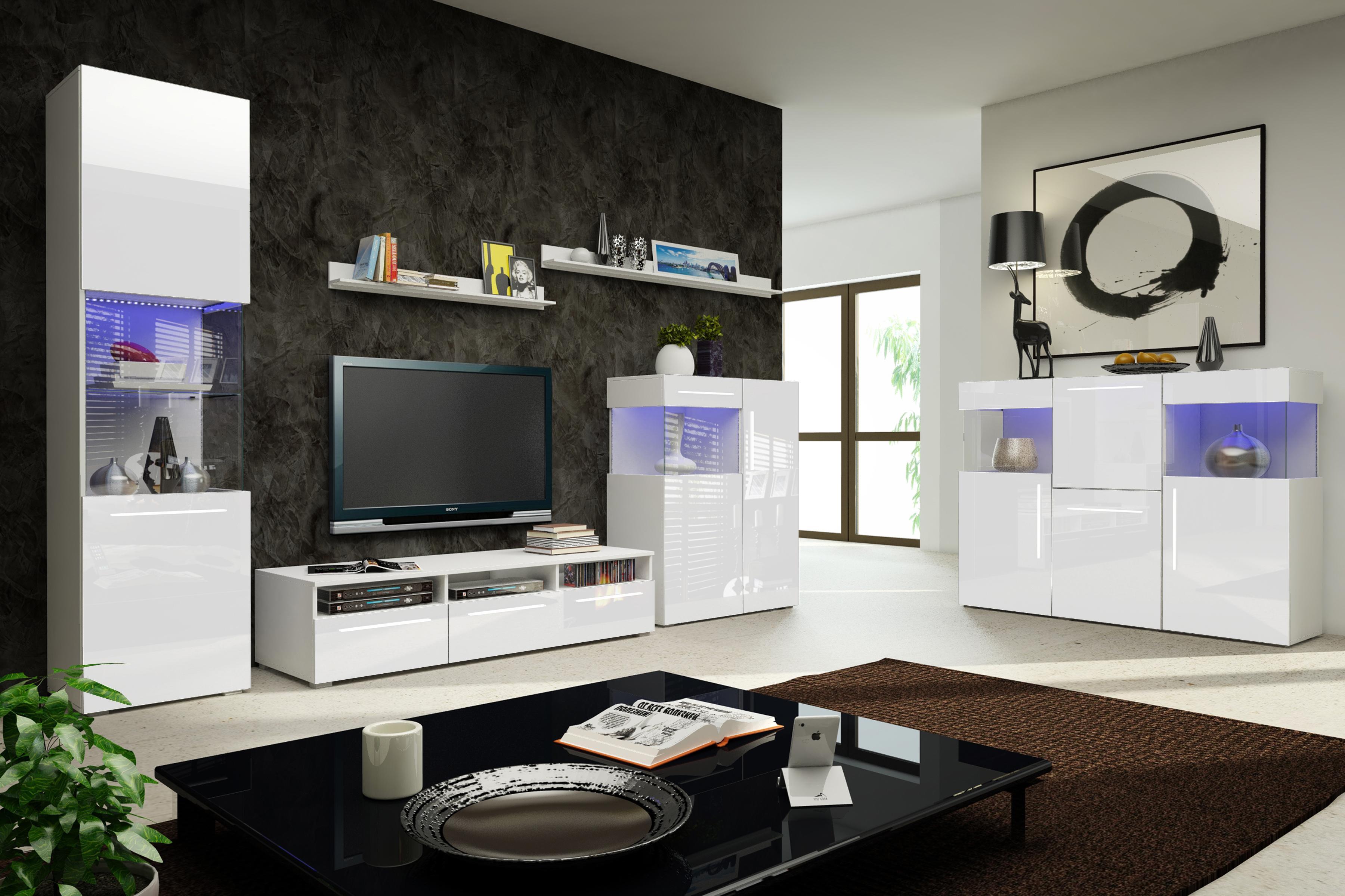 Obývací stěna - Nivel V (bílá + lesk bílý) (s osvětlením)