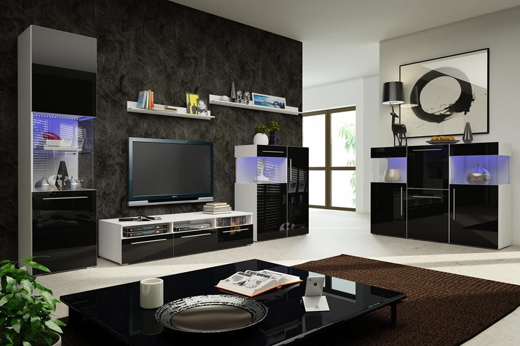 Obývací stěna - Nivel V (bílá + lesk černý) (s osvětlením)