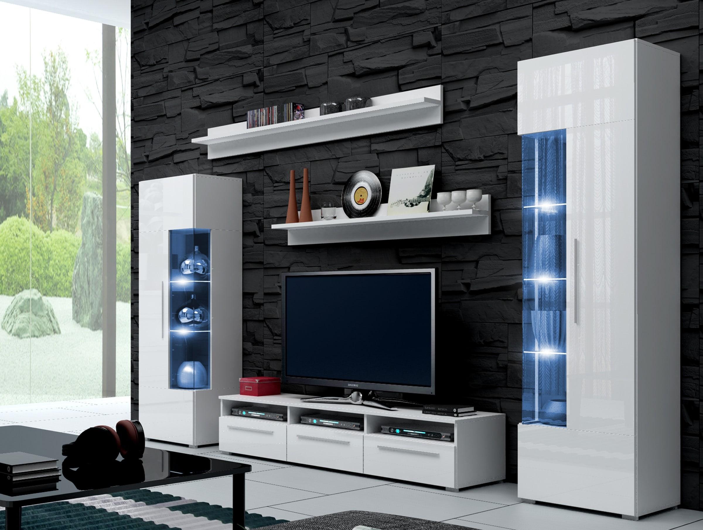 Obývací stěna - Ramon I (bílá + bílá) (s osvětlením)
