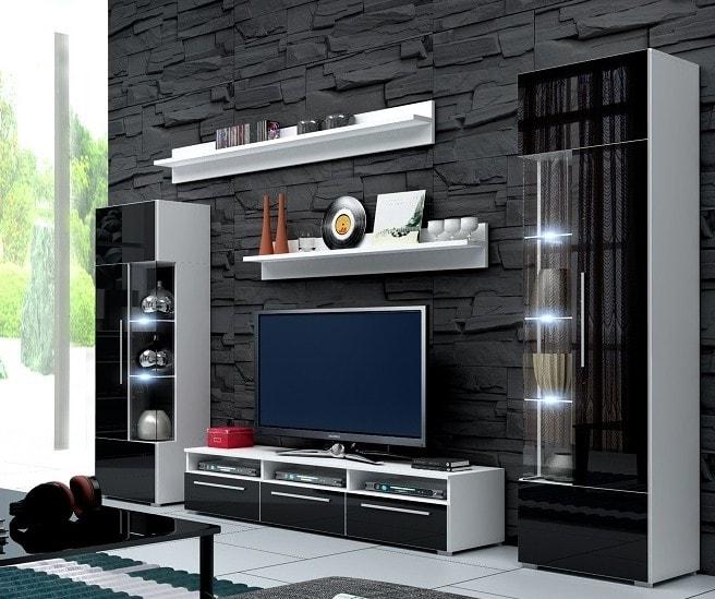 Obývací stěna - Ramon I (bílá + černá) (s osvětlením)