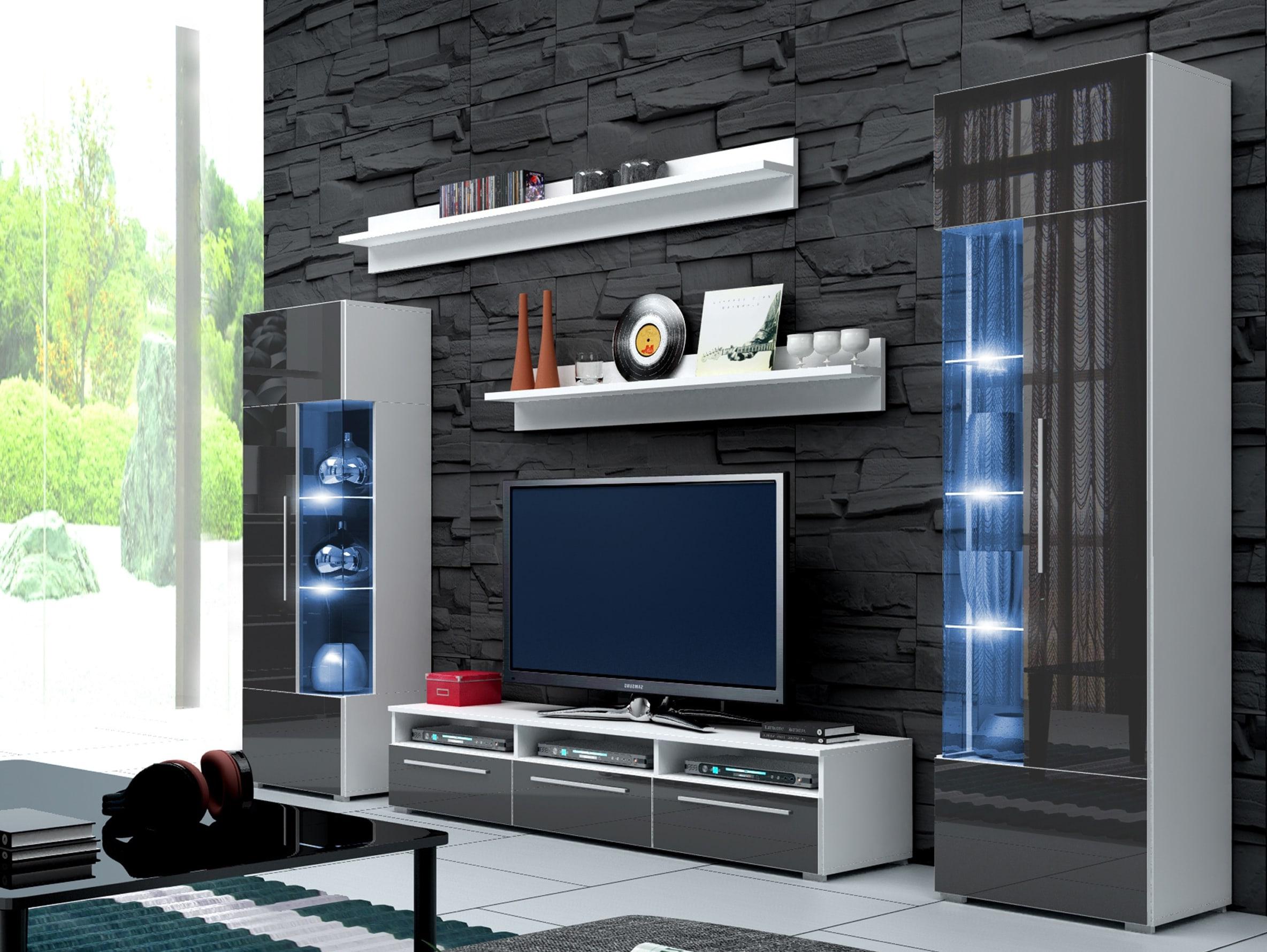 Obývací stěna - Ramon I (bílá + šedá) (s osvětlením)