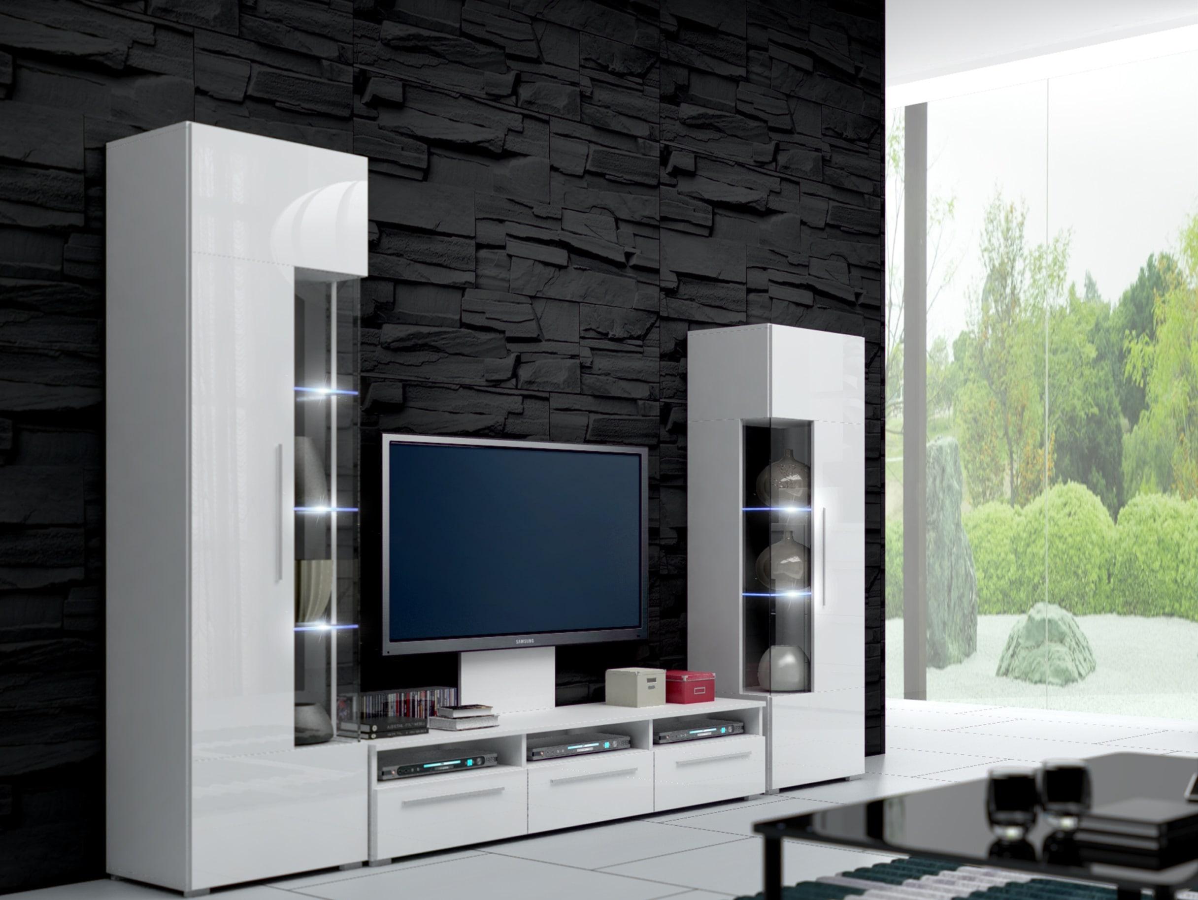 Obývací stěna - Ramon II (bílá + bílá) (s osvětlením)